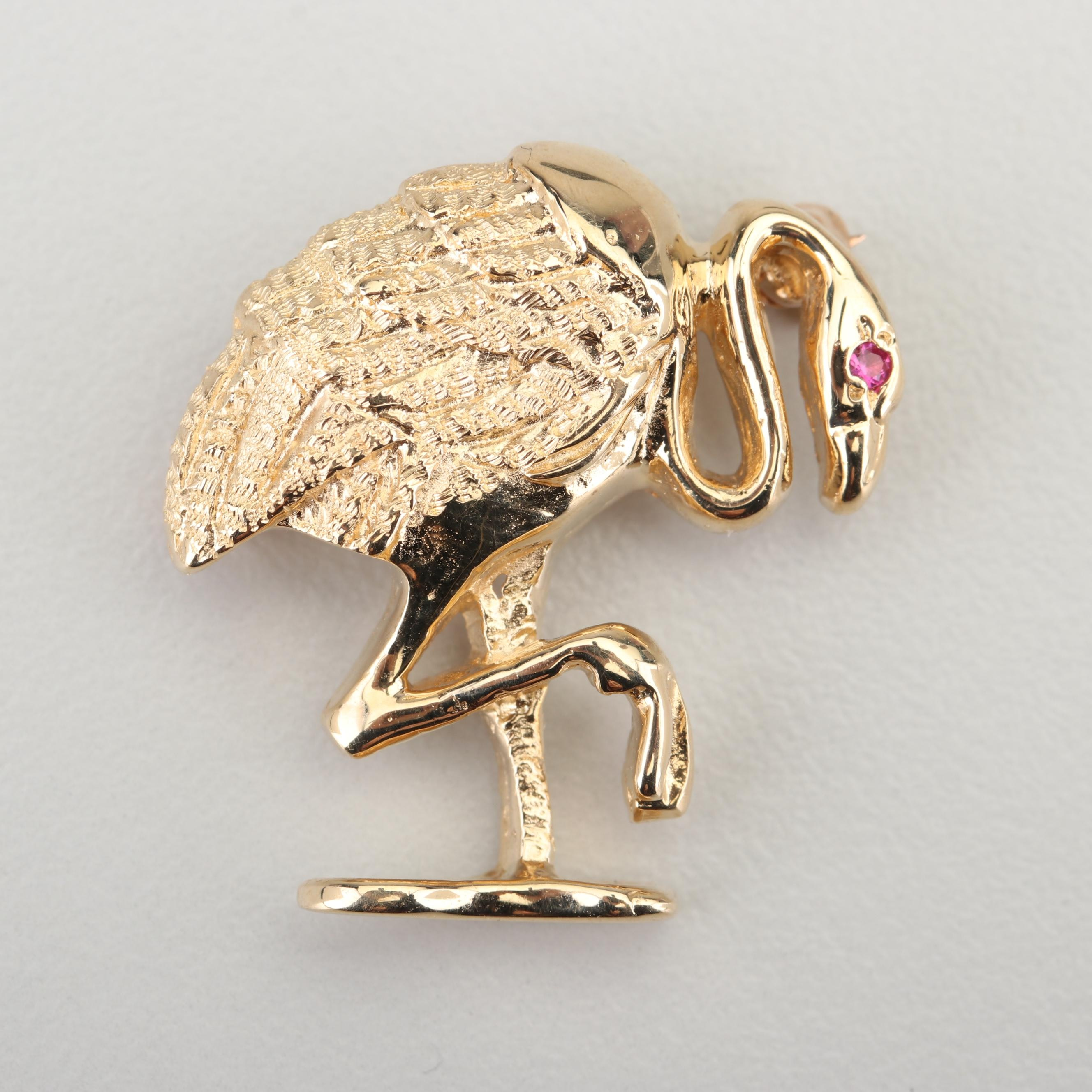 14K Yellow Gold Flamingo Brooch with Ruby Accented Eye