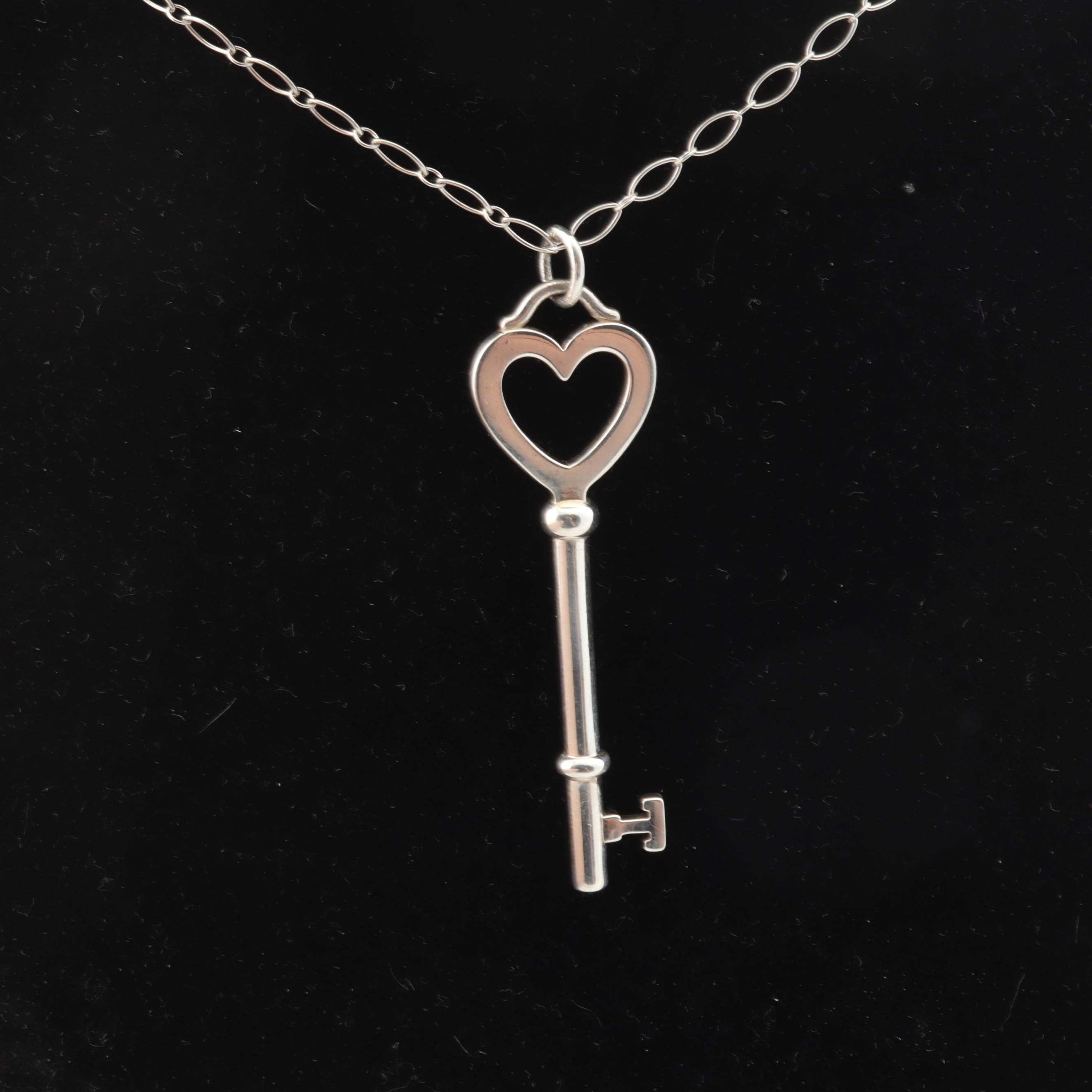 Tiffany & Co Sterling Silver Heart Key Necklace