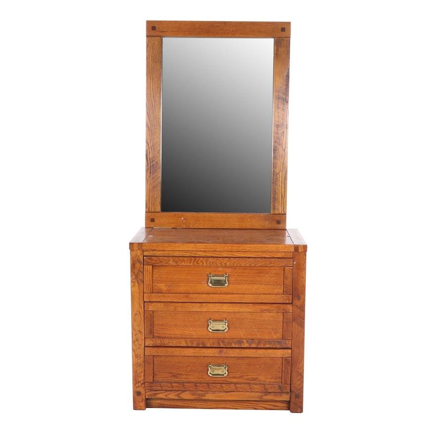 Hayden Wayside Furniture Rustic Oak Dresser And Mirror Set Ebth