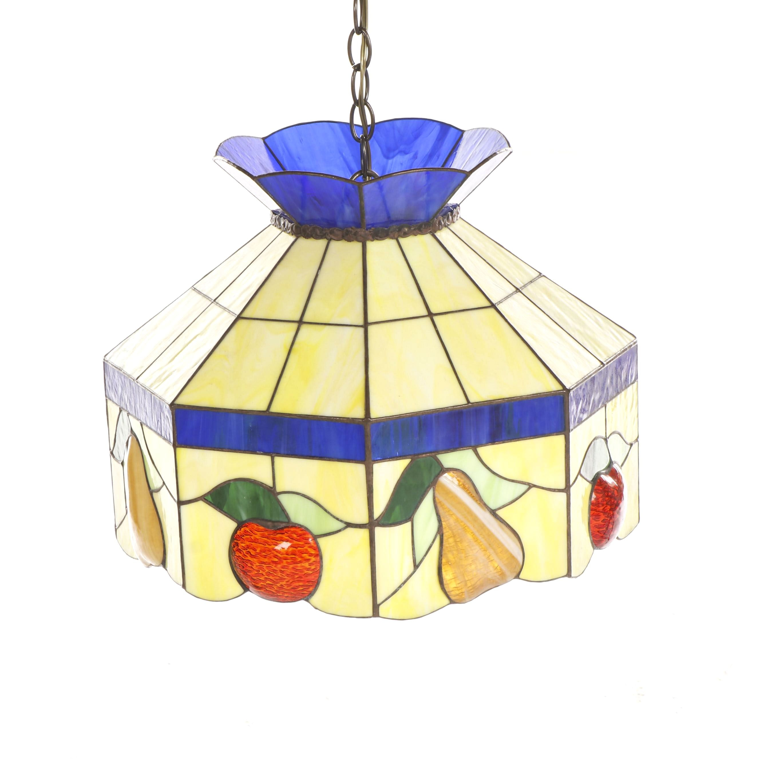 Leviton Slag and Stained Glass Ceiling Pendant Light with Fruit Motif
