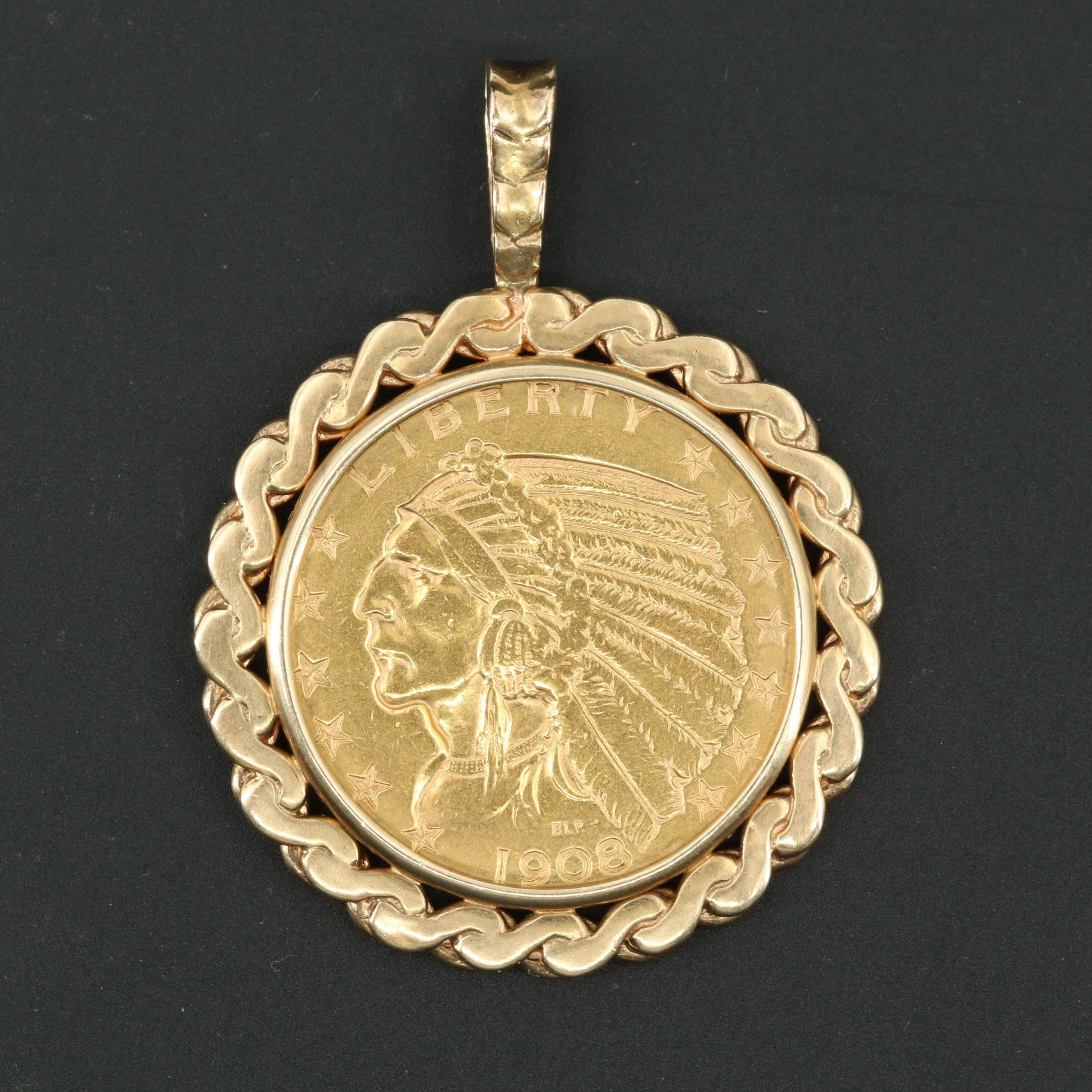 1908-D Indian Head $5 Gold Coin Pendant