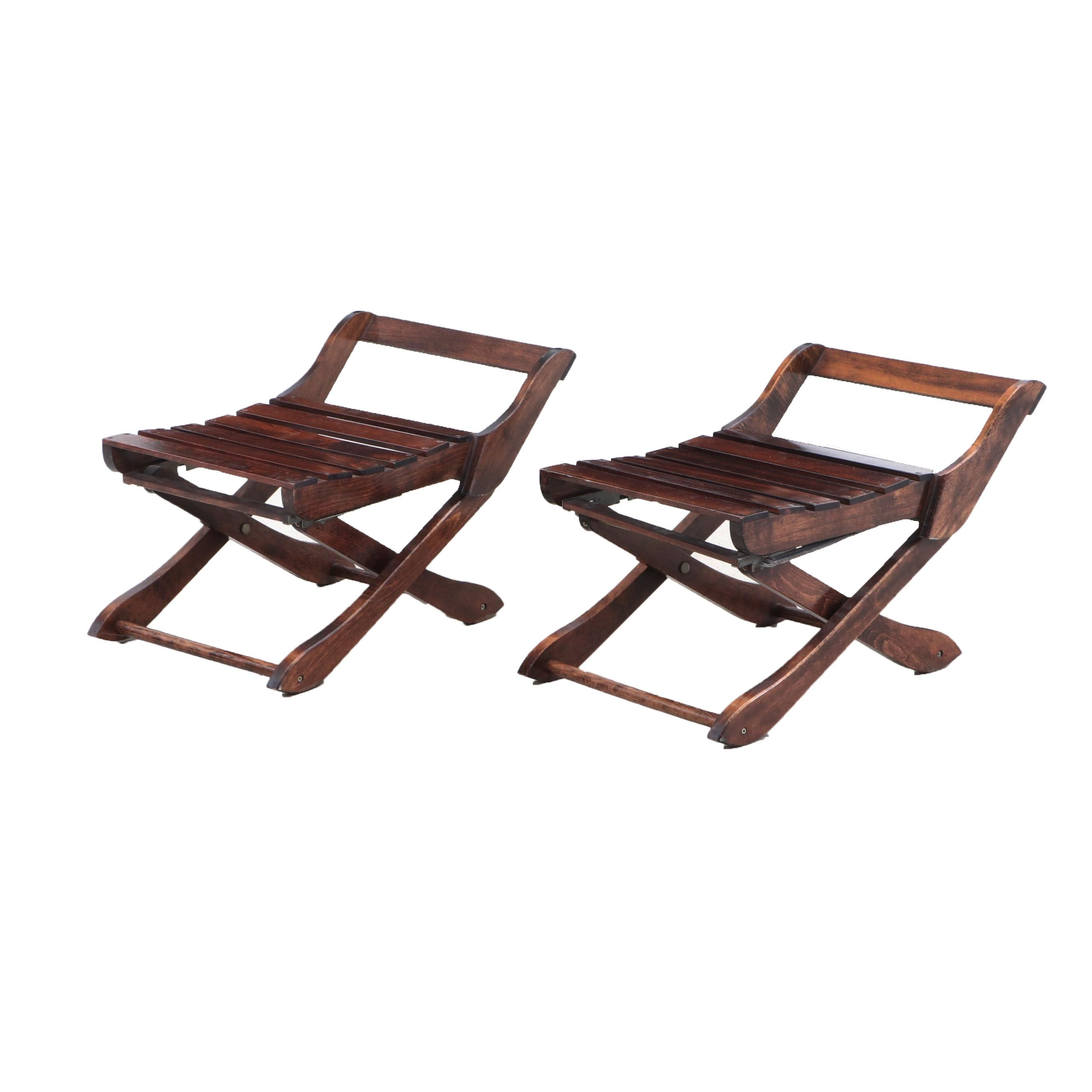 Pair of Birch Slatted Folding Field Chairs