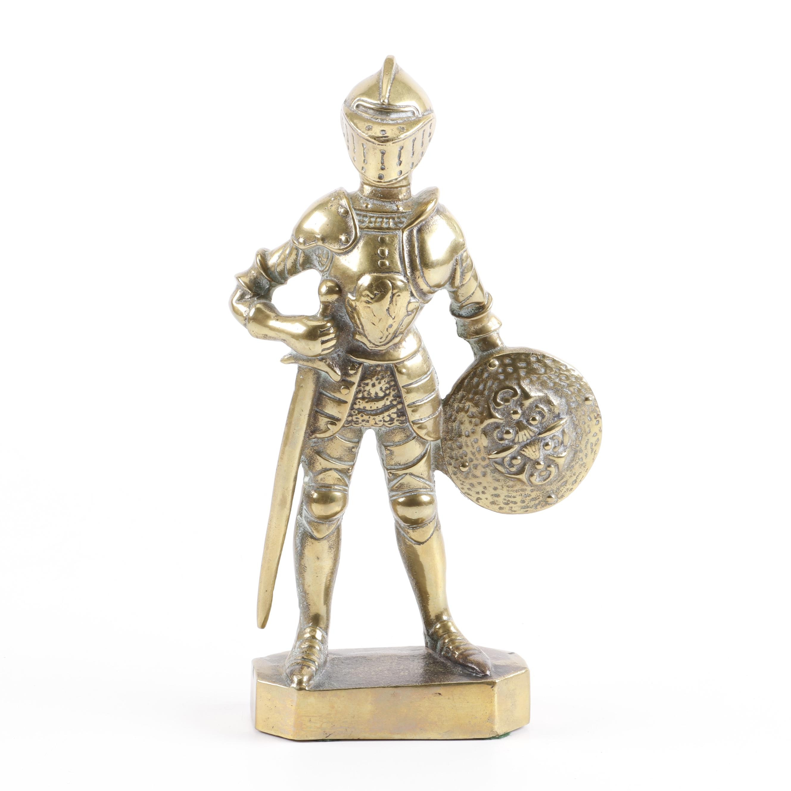 Cast Brass Figure of a Knight