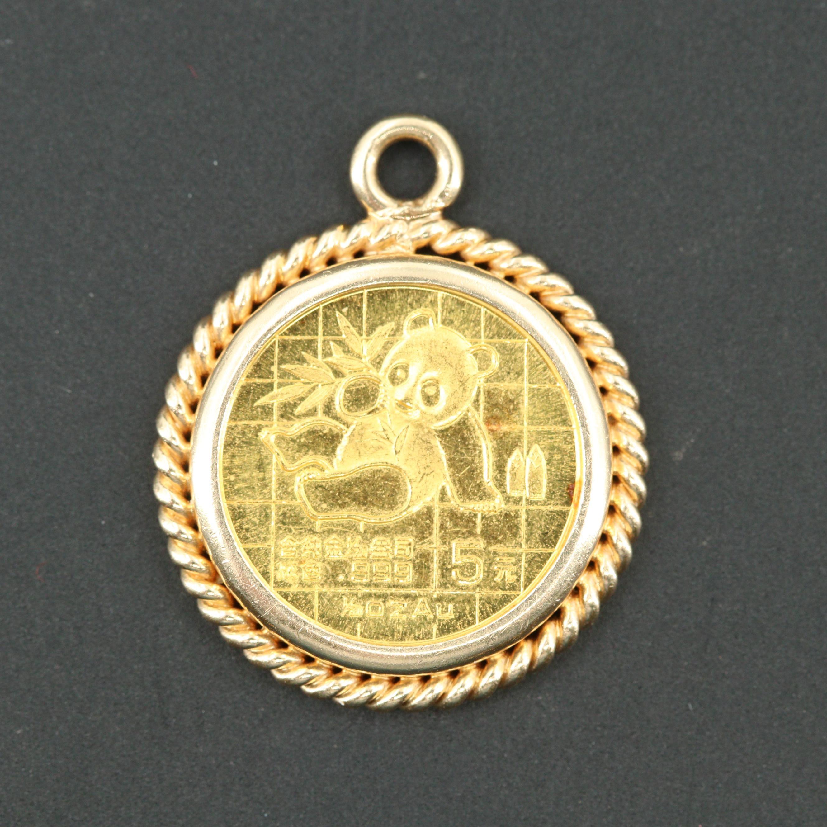 1989 China 5 Yuan Panda Gold Pendant