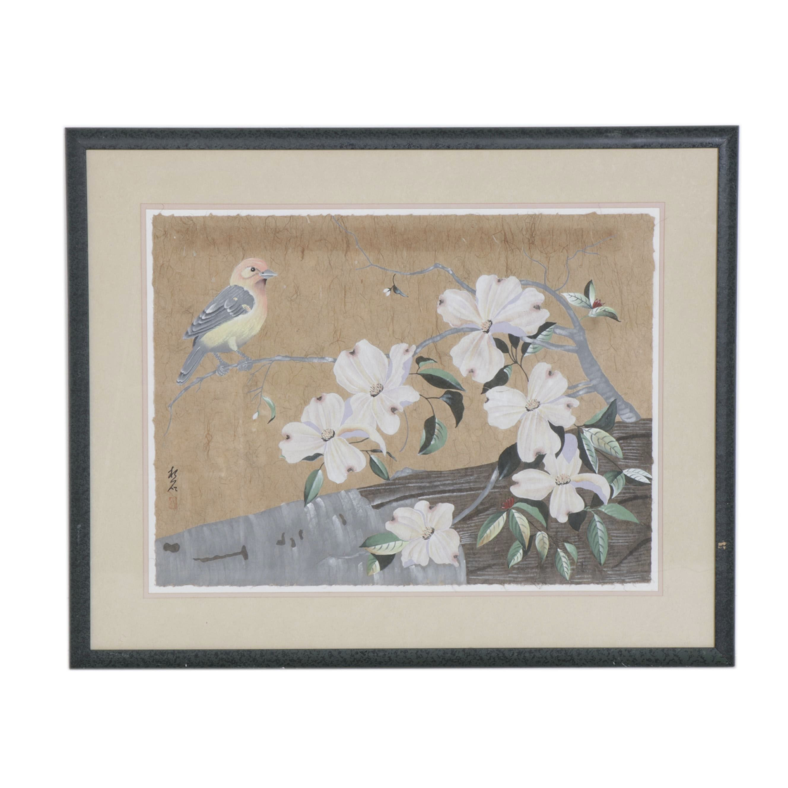Chinese Gouache Painting on Handmade Paper