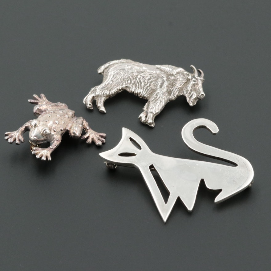 Sterling Silver Animal Brooches