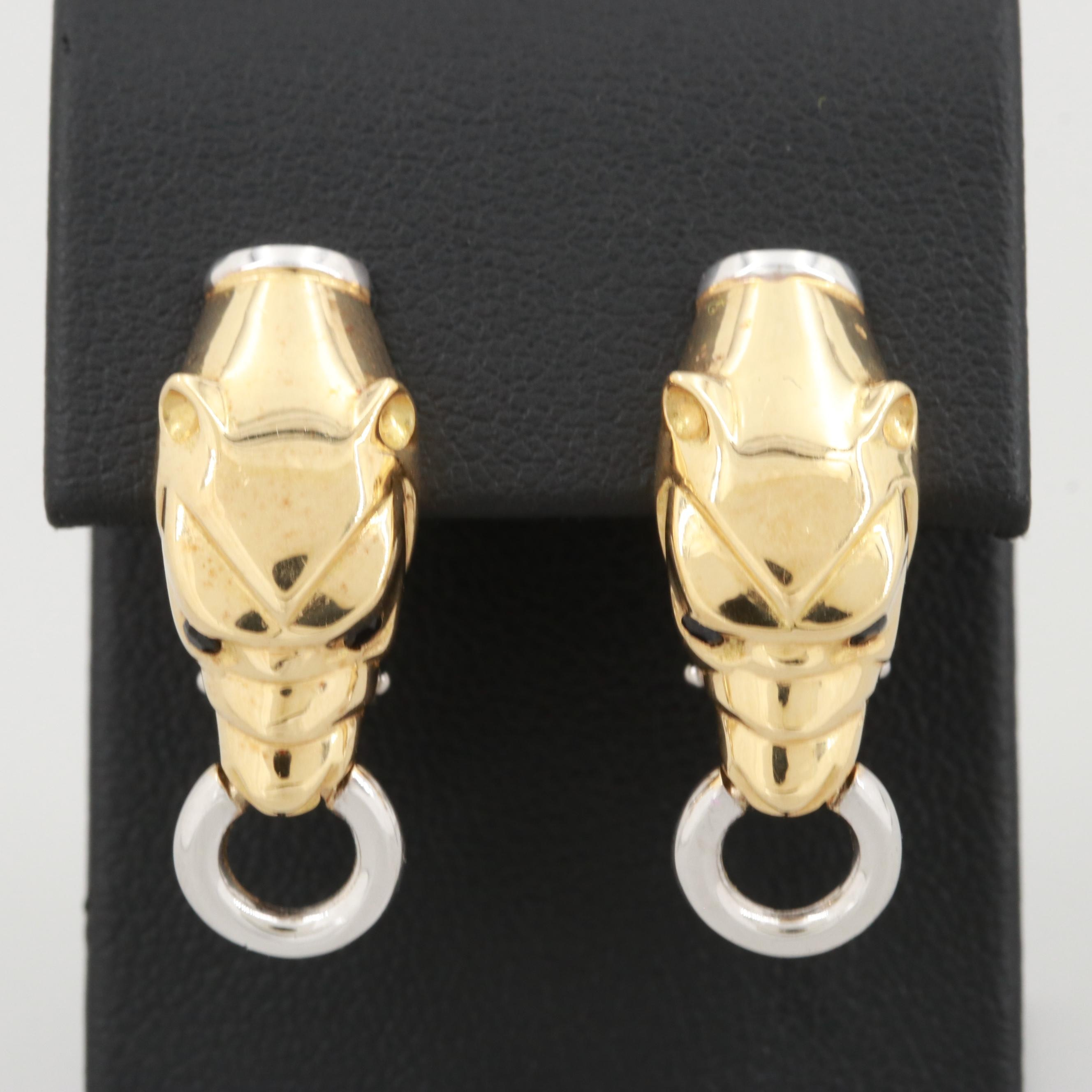 18K Yellow Gold Blue Sapphire Dog Head Earrings with 18K White Gold Accents