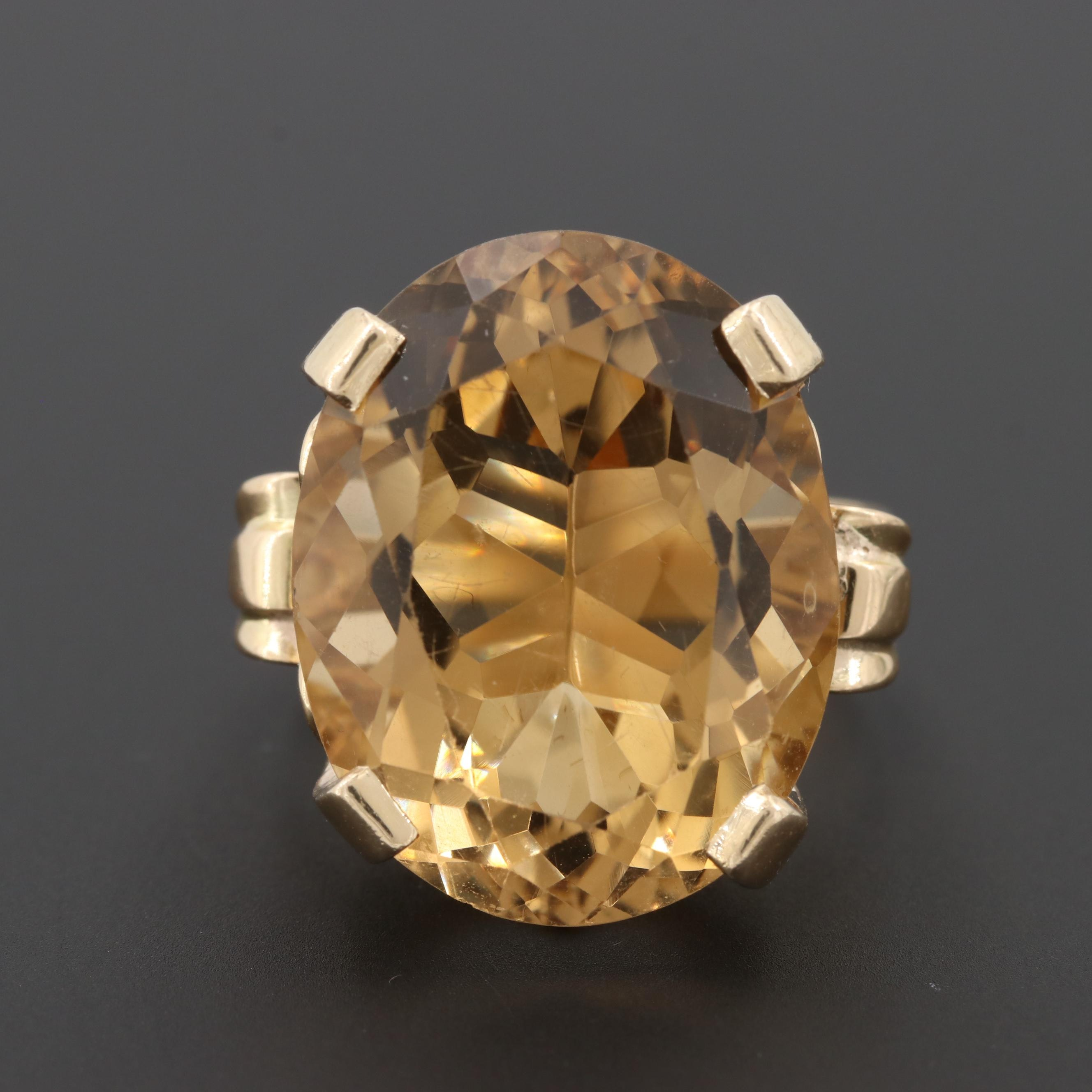 Vintage 14K Yellow Gold 21.87 CT Citrine Ring in Openwork Setting