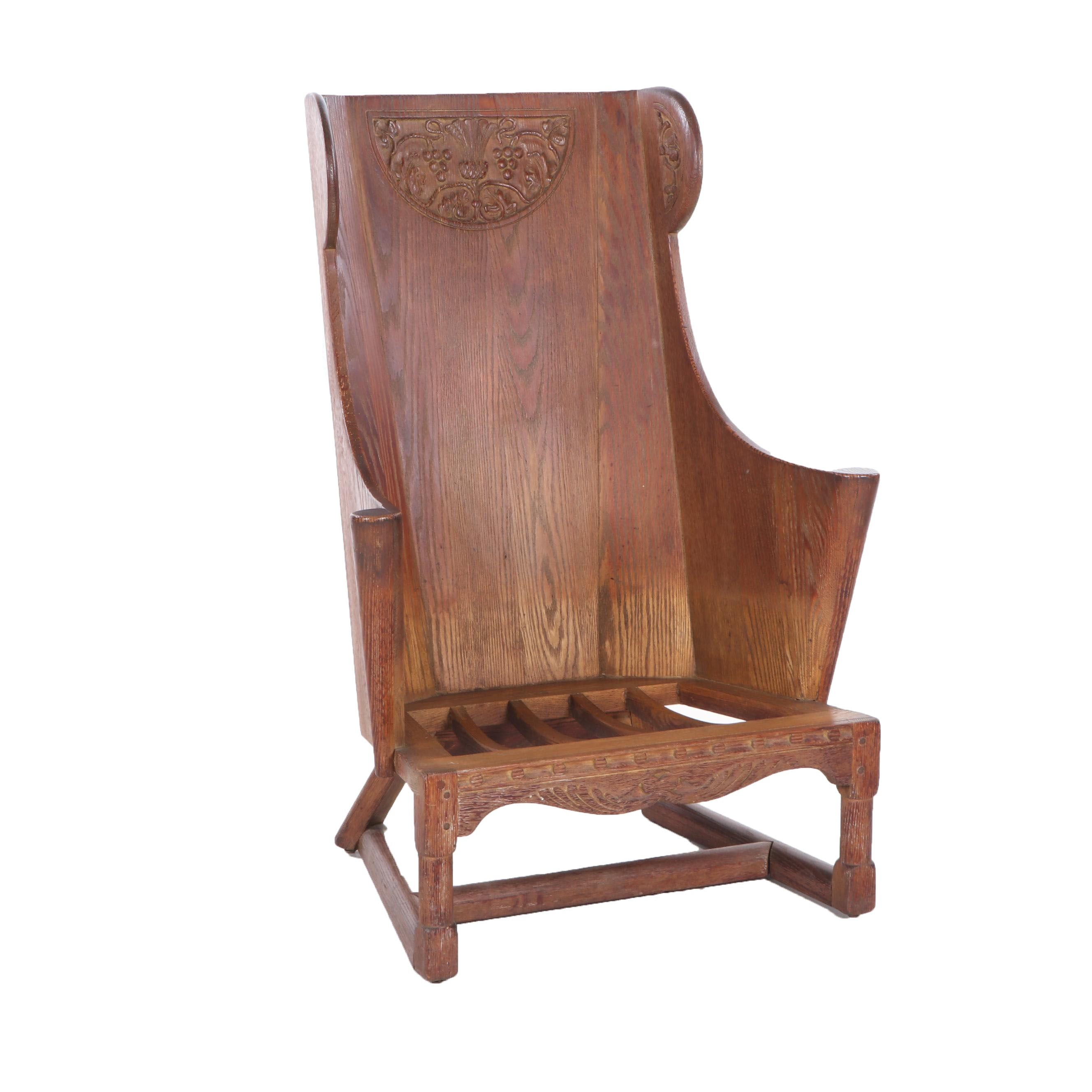 Arts and Crafts Style Carved Oak Lambing Chair, Early/Mid 20th Century