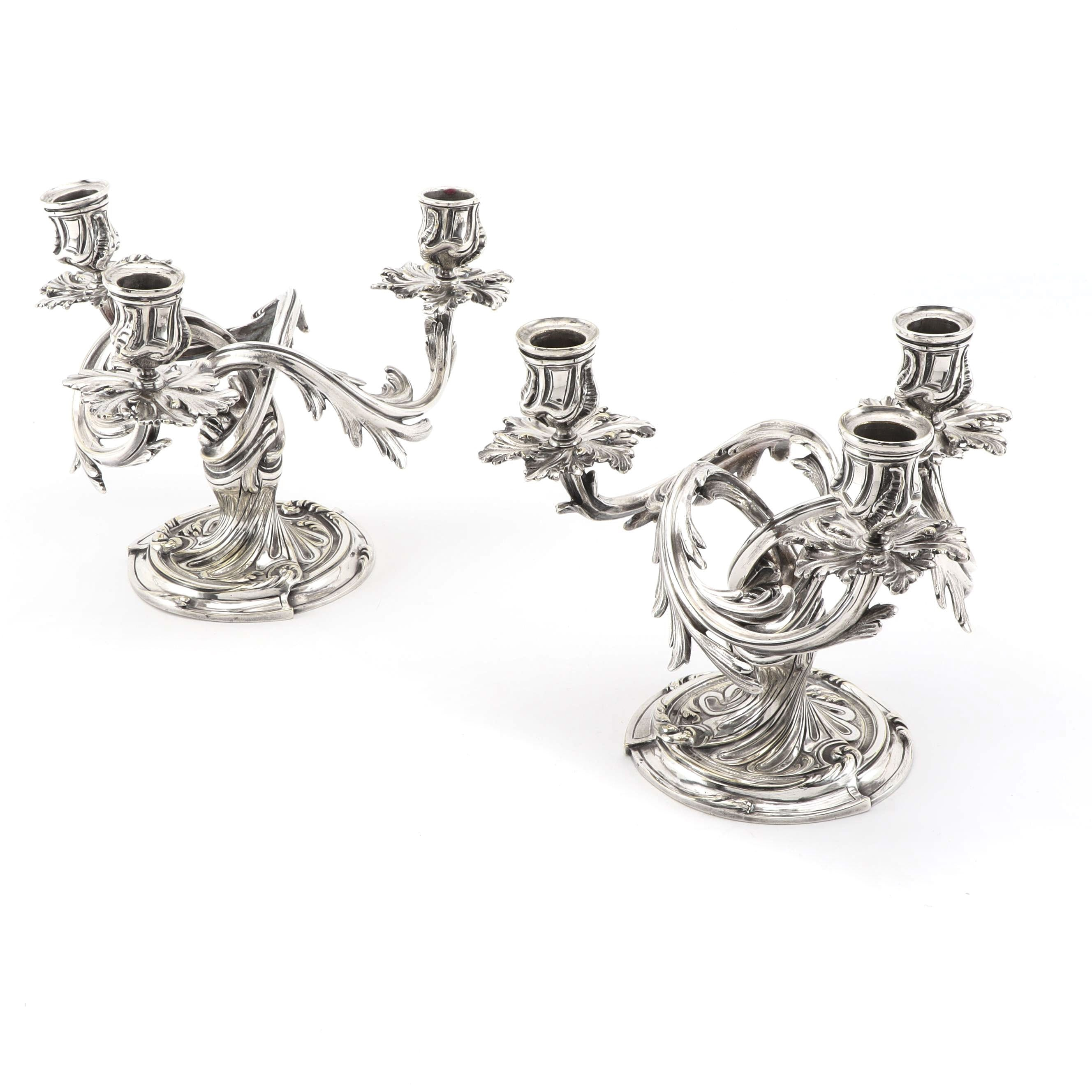 "Christofle France ""Trianon"" Silver Plate Candelabra Pair, Early 20th C."