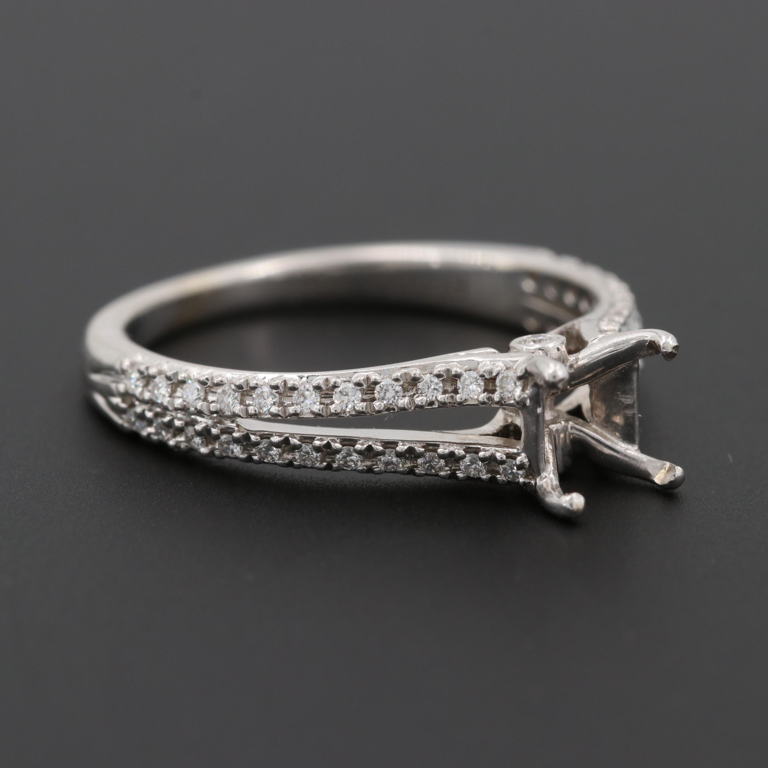 Ritani 18K White Gold Diamond Semi-Mount Ring with Split Shank