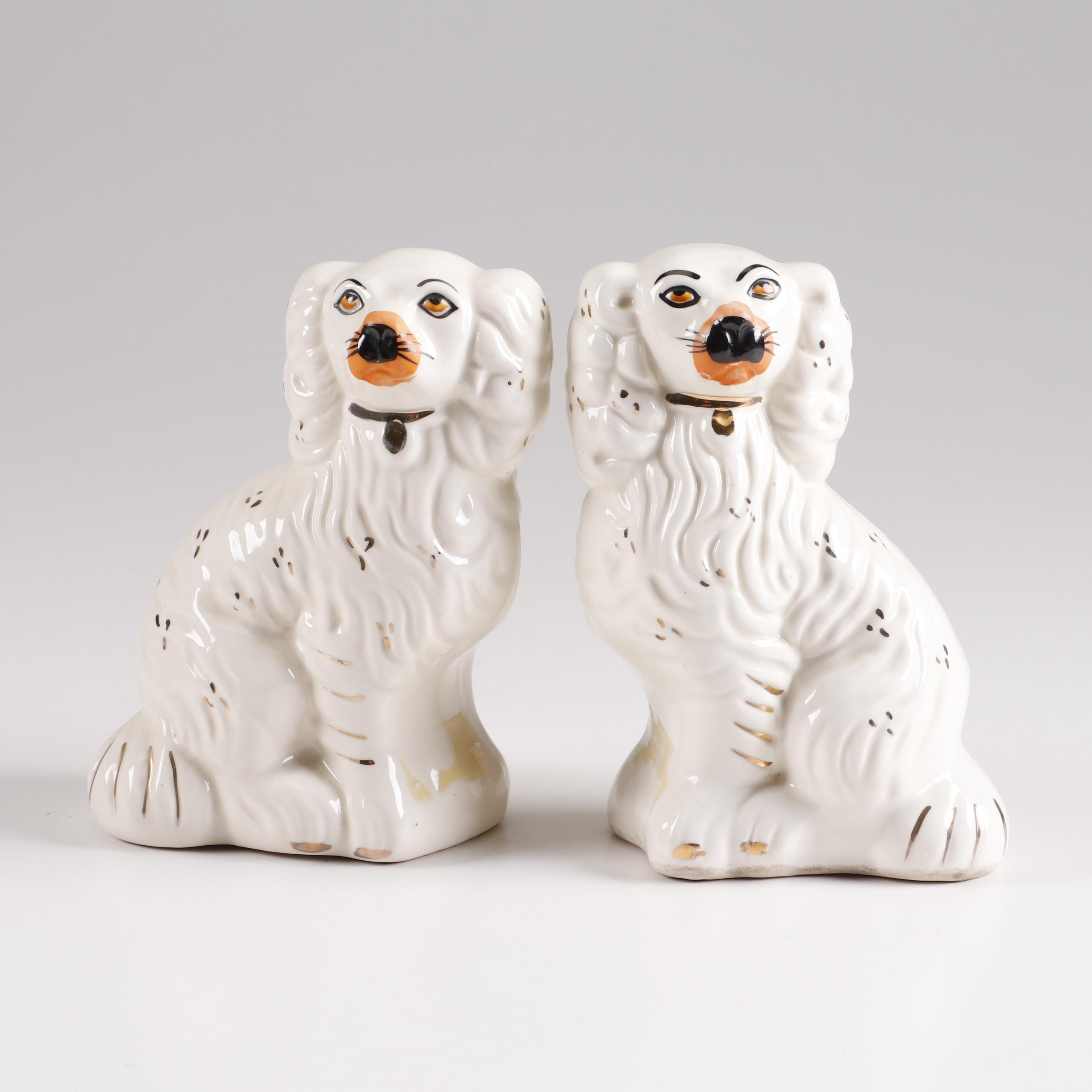 Staffordshire Style Porcelain Dog Figurines, 20th Century
