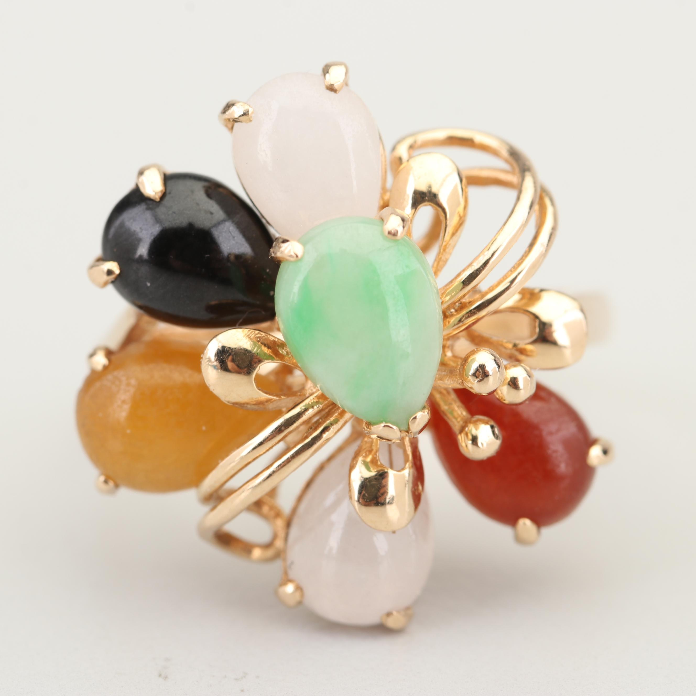 14K Yellow Gold Multi-Colored Jadeite Ring
