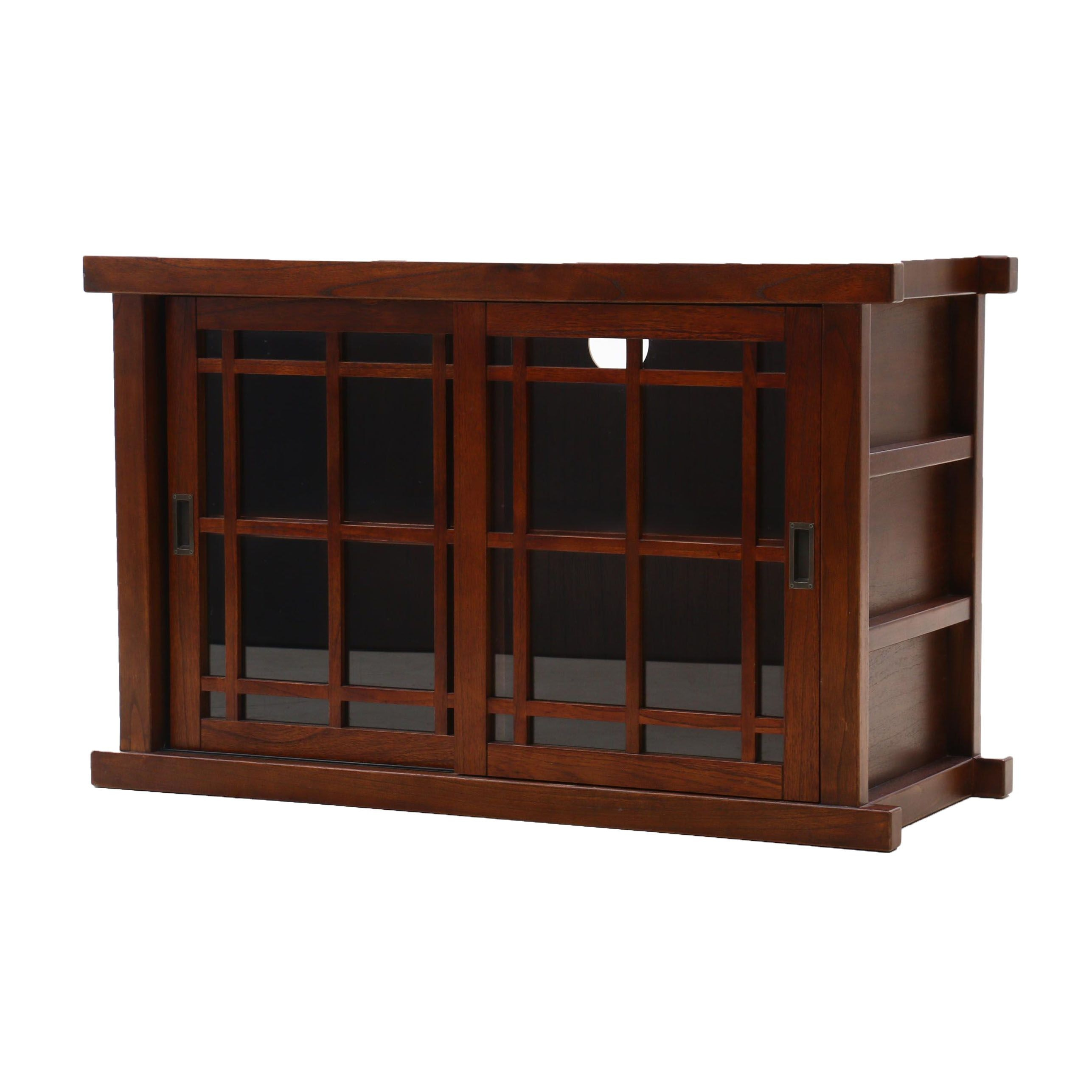 Arts and Crafts Style Oak Media Cabinet with Walnut Stain
