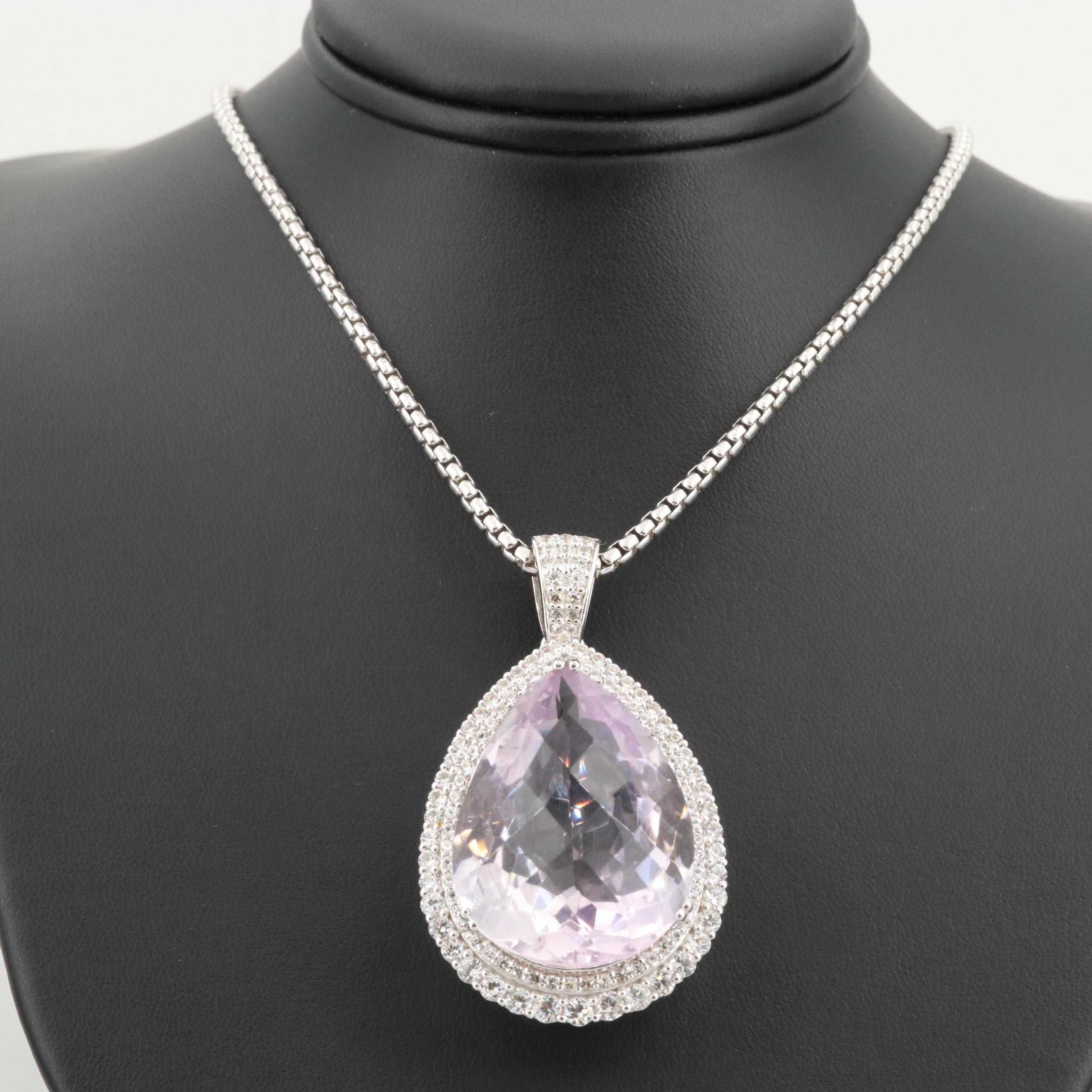Sterling Silver 98.00 CT Amethyst and White Sapphire Pendant Necklace