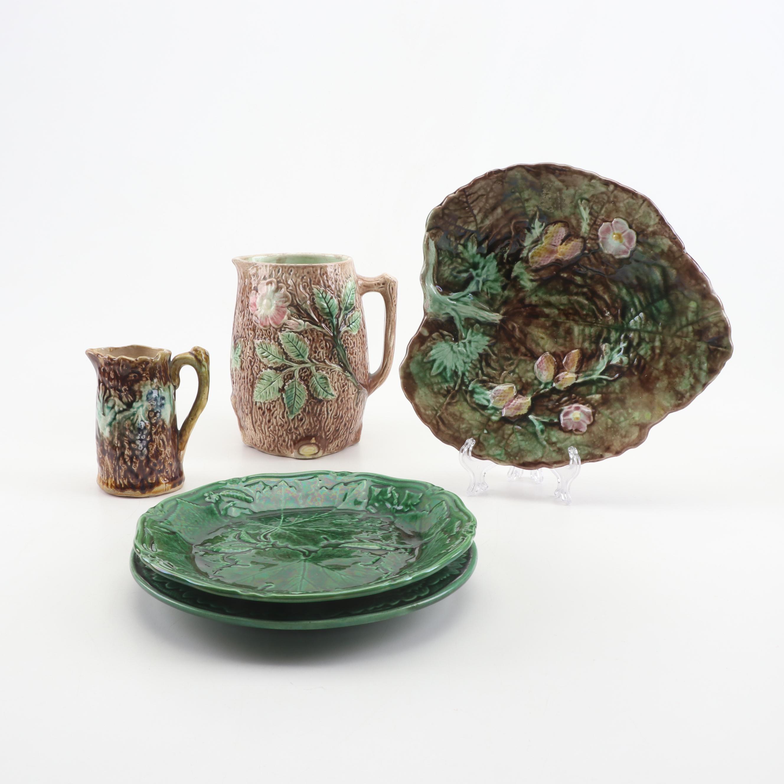 Majolica Dinnerware and Serveware, Early to Mid 20th Century