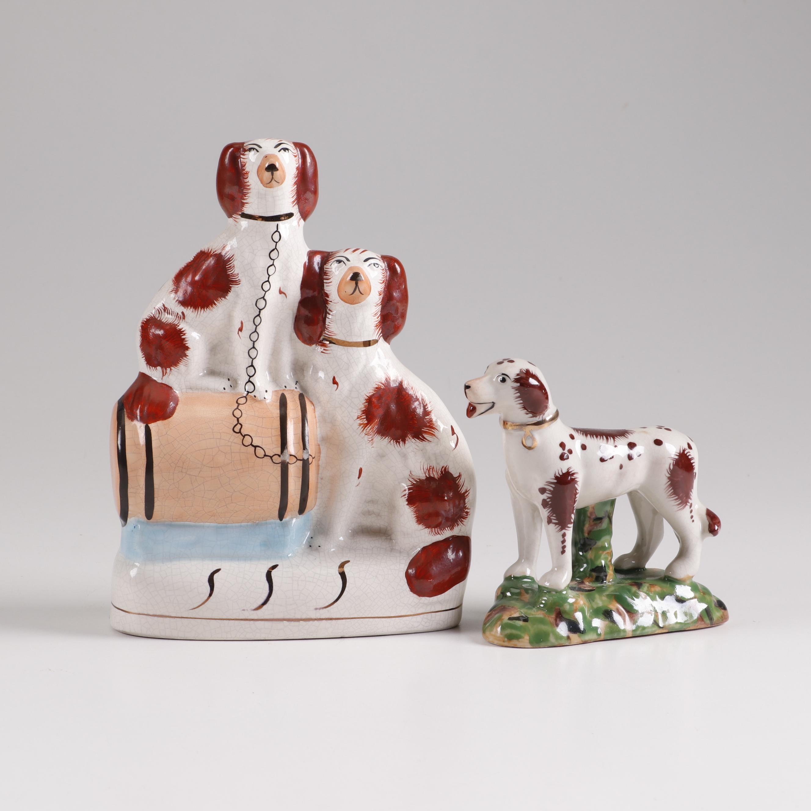 Staffordshire Style Porcelain Dog Figurines