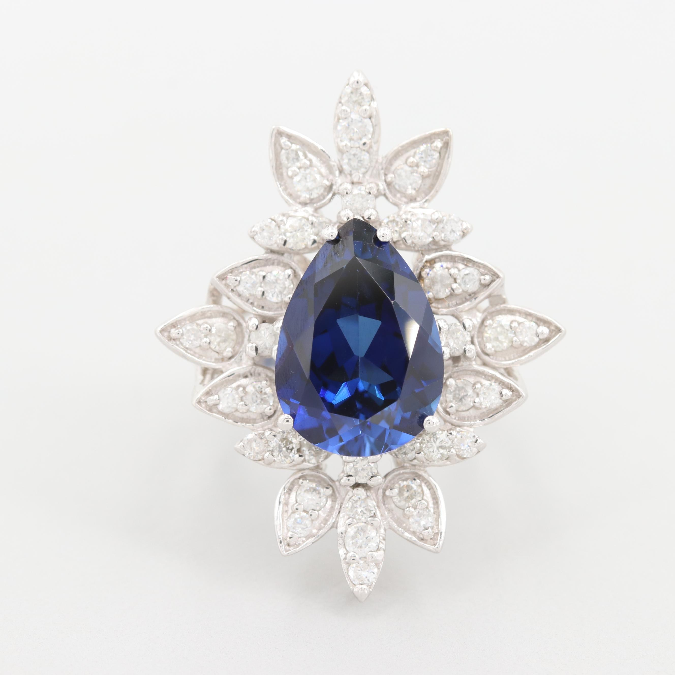 18K White Gold Synthetic Sapphire and Diamond Ring