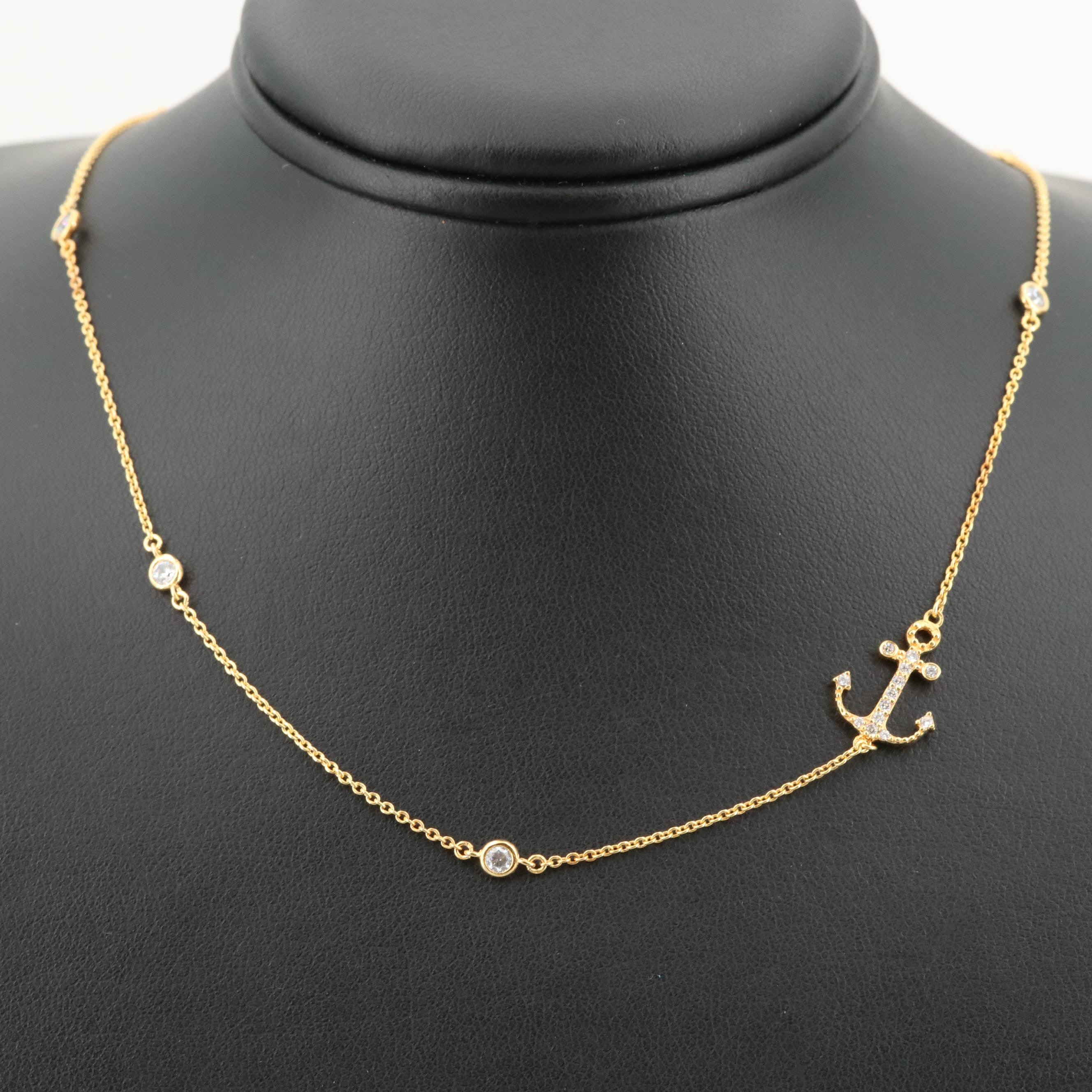 Gold Wash on Sterling Silver Cubic Zirconia Anchor Station Necklace