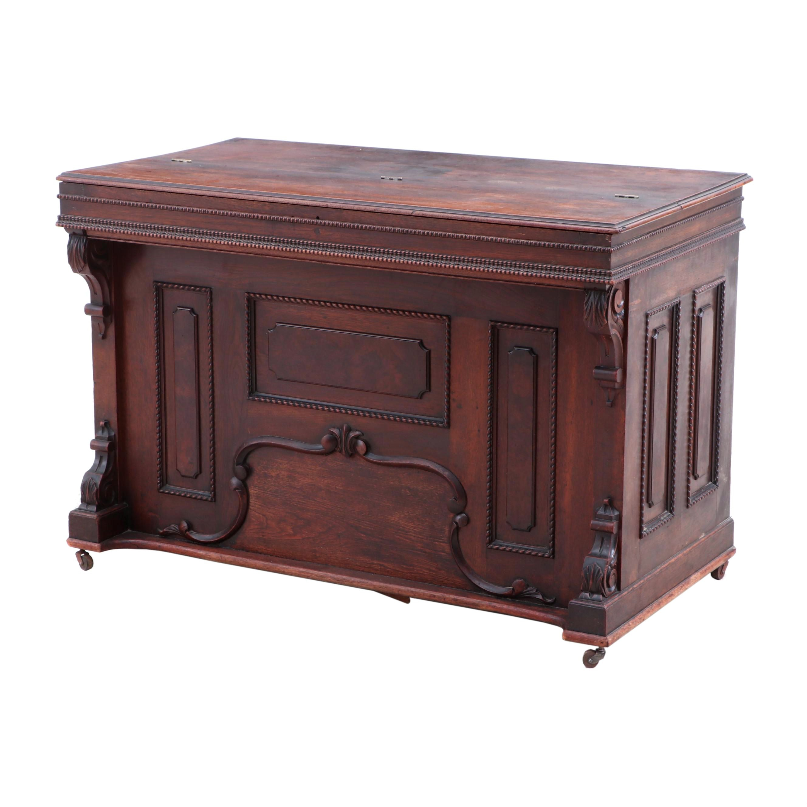 Early Victorian Walnut Storage Chest with Tray, 19th Century