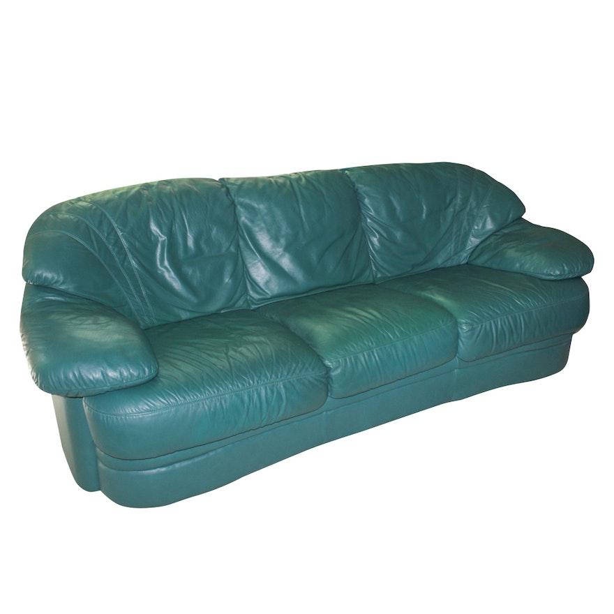 Contemporary Natuzzi Italian Leather Sofa