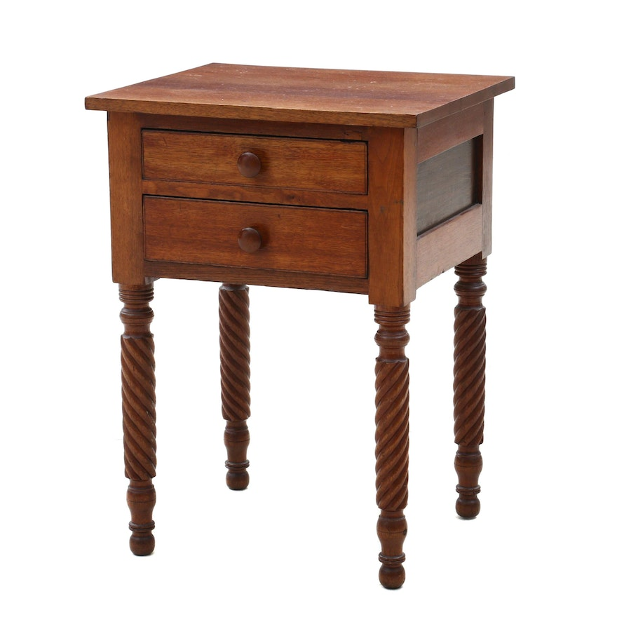 Empire Walnut Working Table, Circa 1825