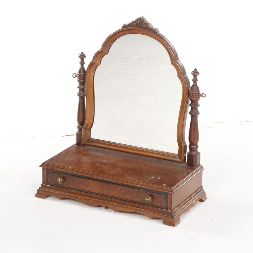 Art Deco Wooden Table Top Vanity Mirror with Drawer, Circa 1920s
