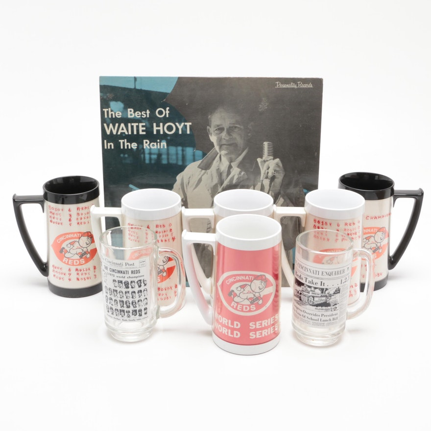 1970s Cincinnati Reds Drinking Mugs/Glasses with Waite Hoyt Burger Beer Album