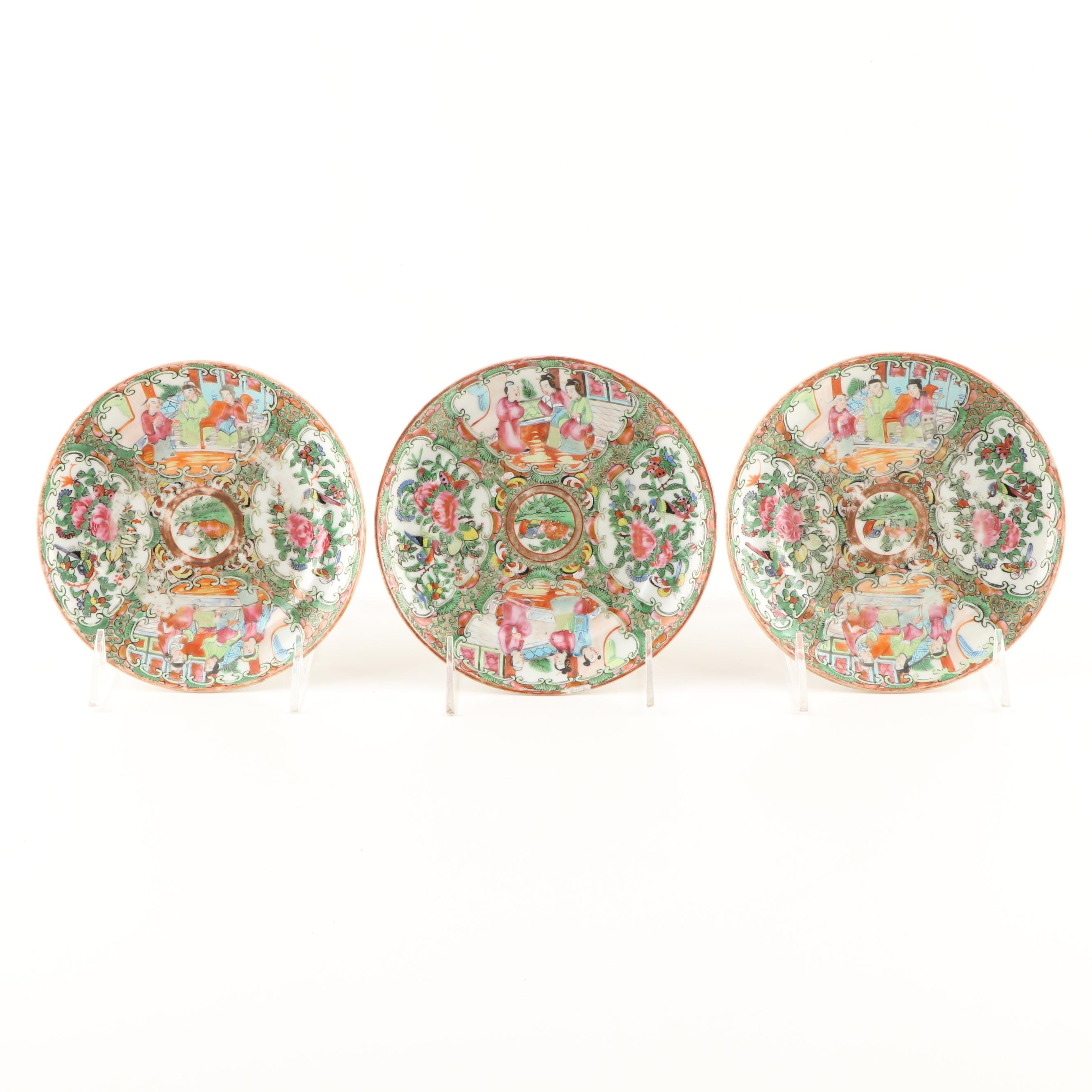 Chinese Rose Medallion Porcelain Plates, 19th Century