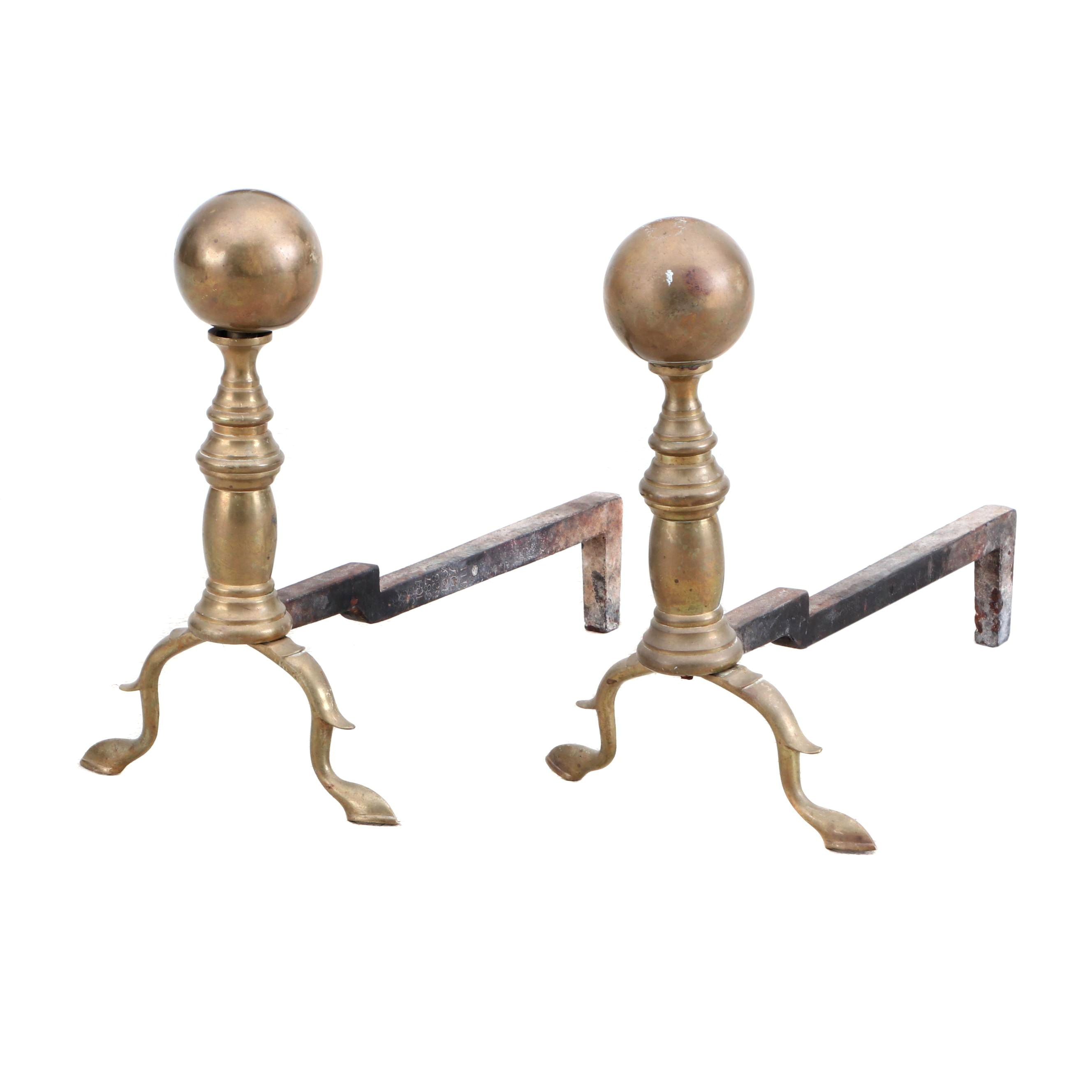 Federal Style Brass Ball Top Andirons, Late 19th to Early 20th Century