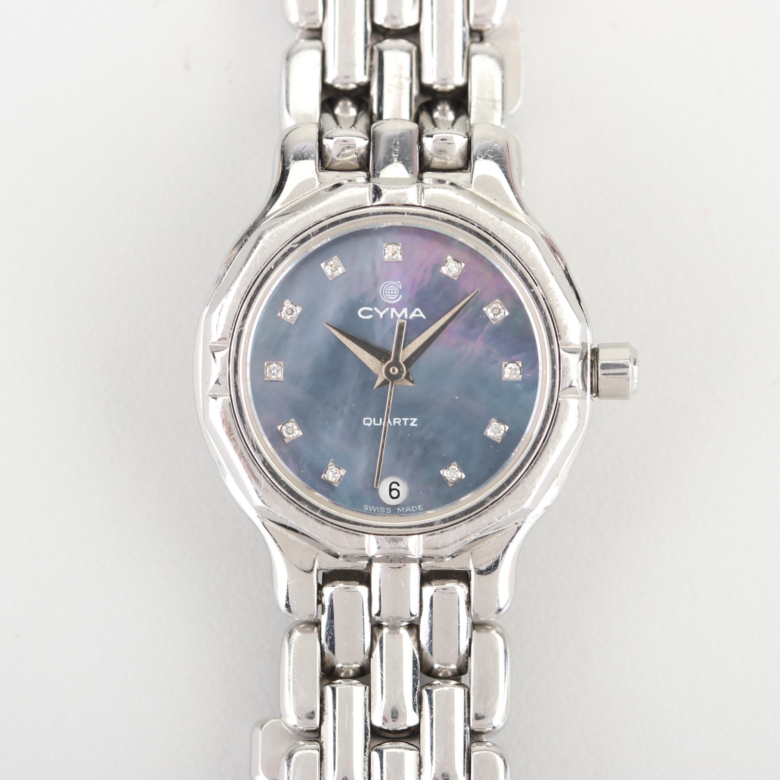 Cyma Stainless Steel Wristwatch with Diamond and Mother of Pearl Dial