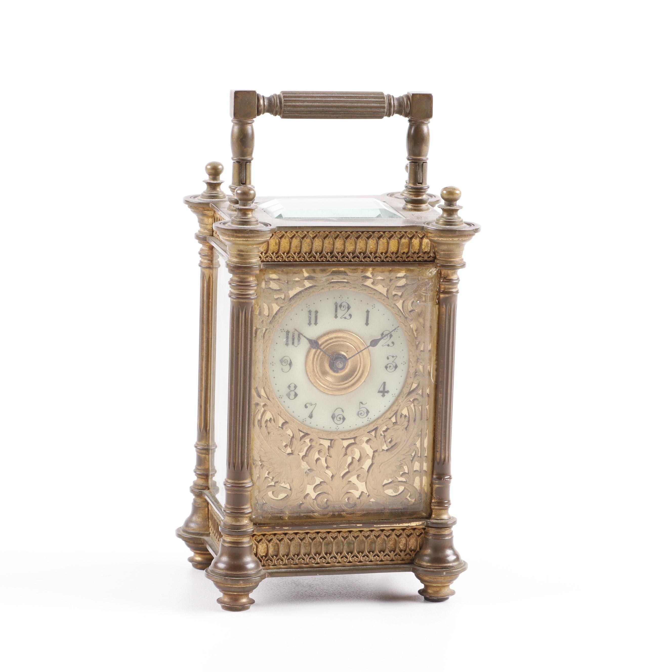 French Cast Metal Brass Finished Desk Clock, Early 20th Century
