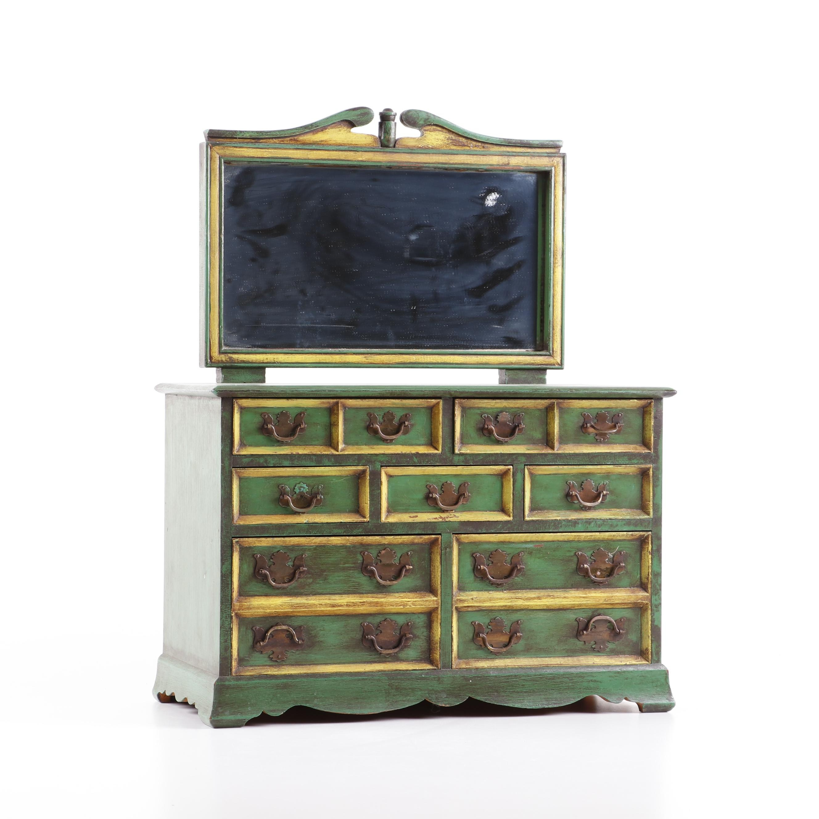 Painted Cherry Chippendale Style Jewelry Box