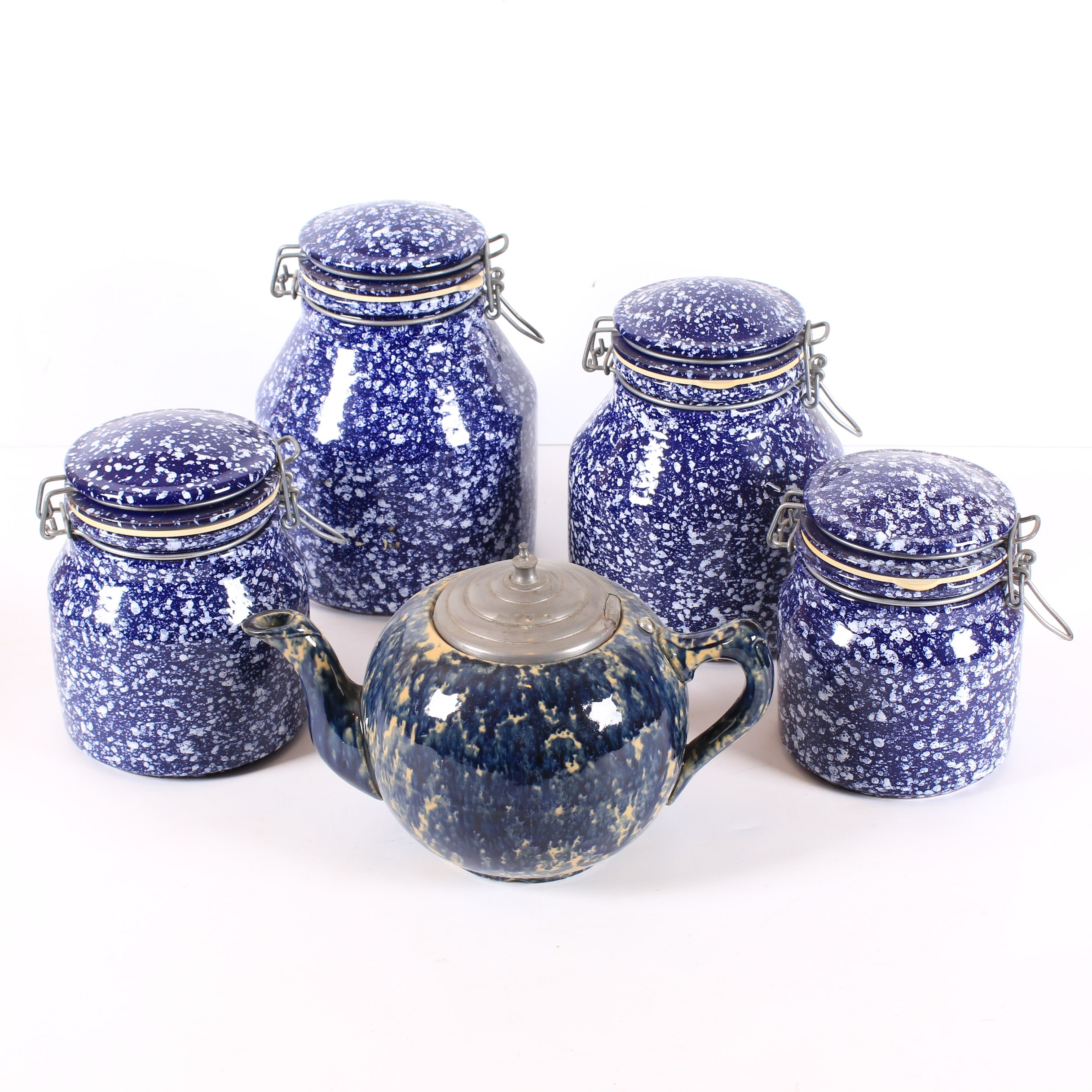 Ceramic Spongeware Canisters and Teapot
