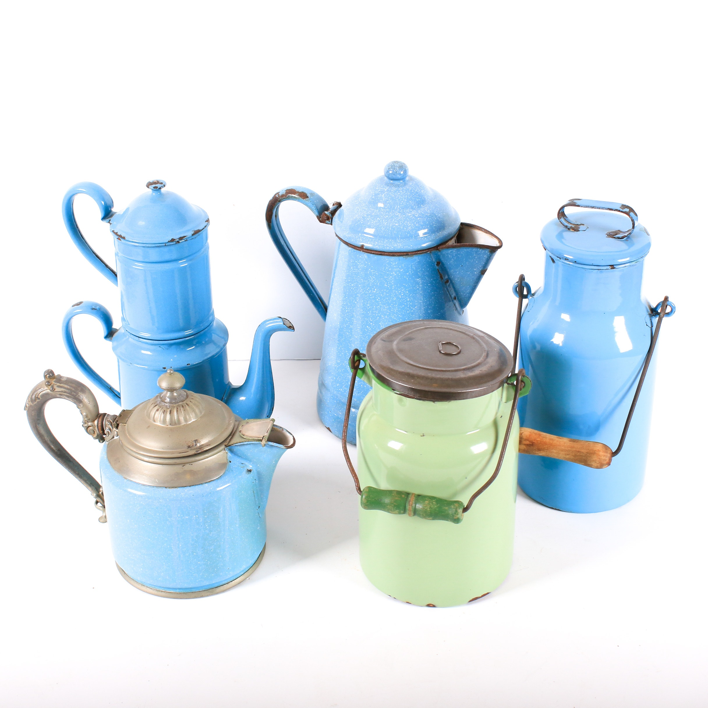 Blue Enamelware Teapots and Canisters