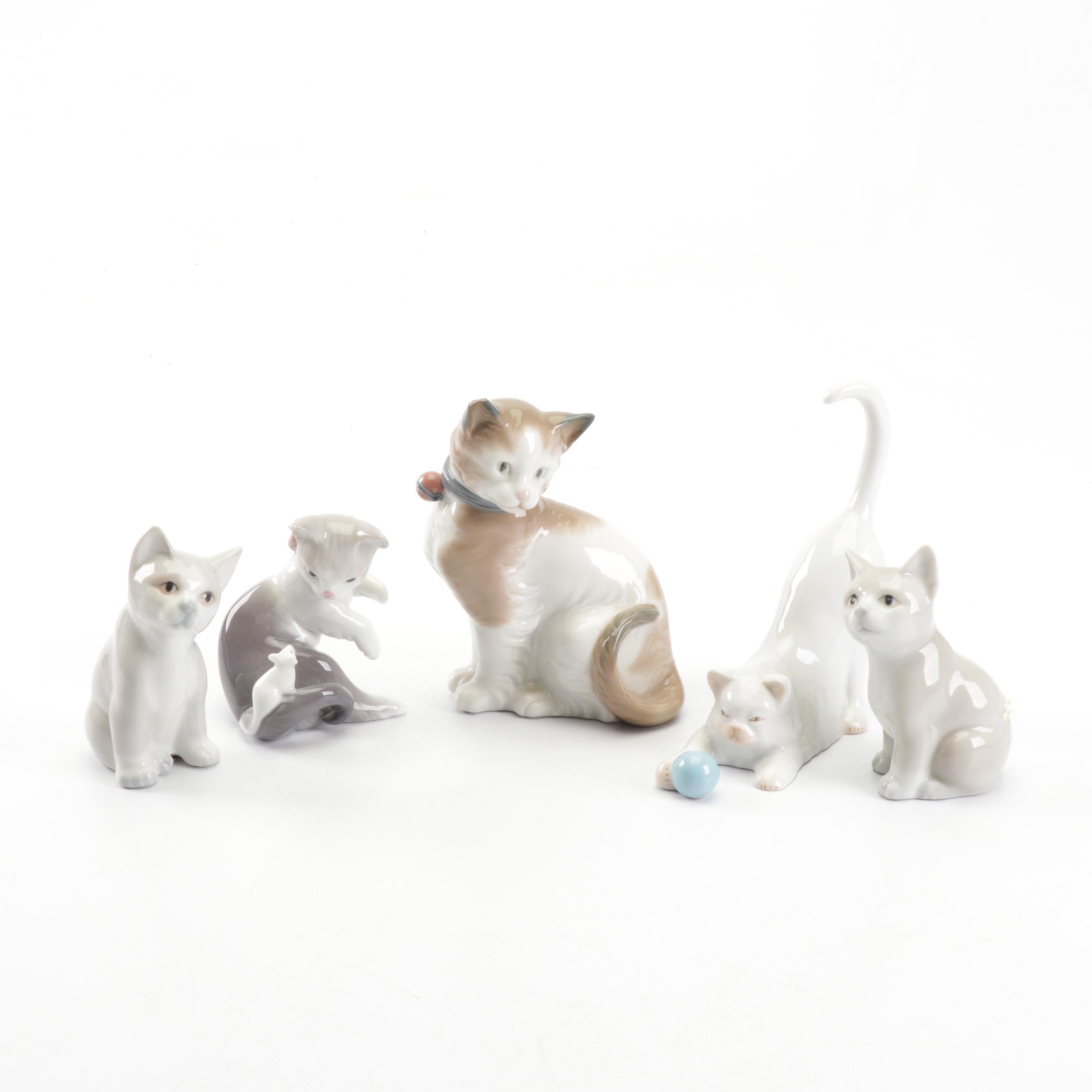 Porcelain Cat Figurines Including Lladró and Herend