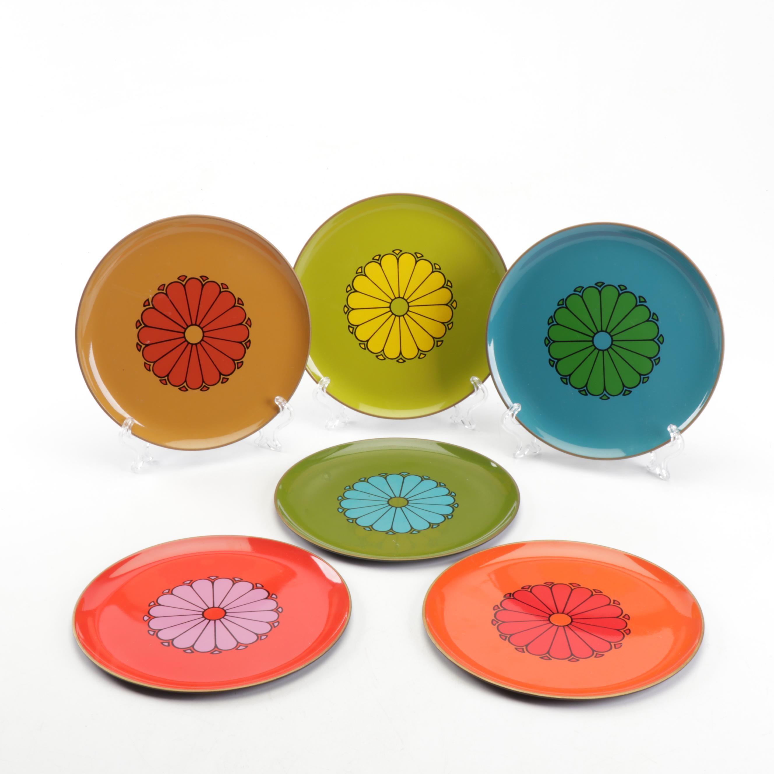 Mid Century Modern CTO Japan Melamine Plates with Flower Motif