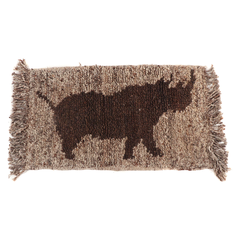 Handwoven Rhinoceros Pictorial Wool Floor Mat