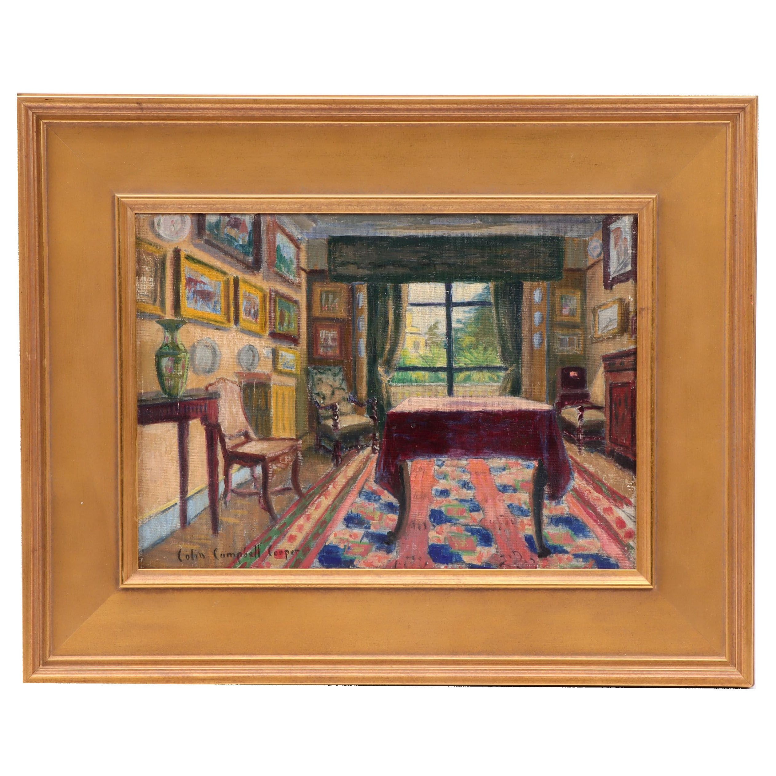 Colin Cambpell Cooper Oil Painting of Interior Scene