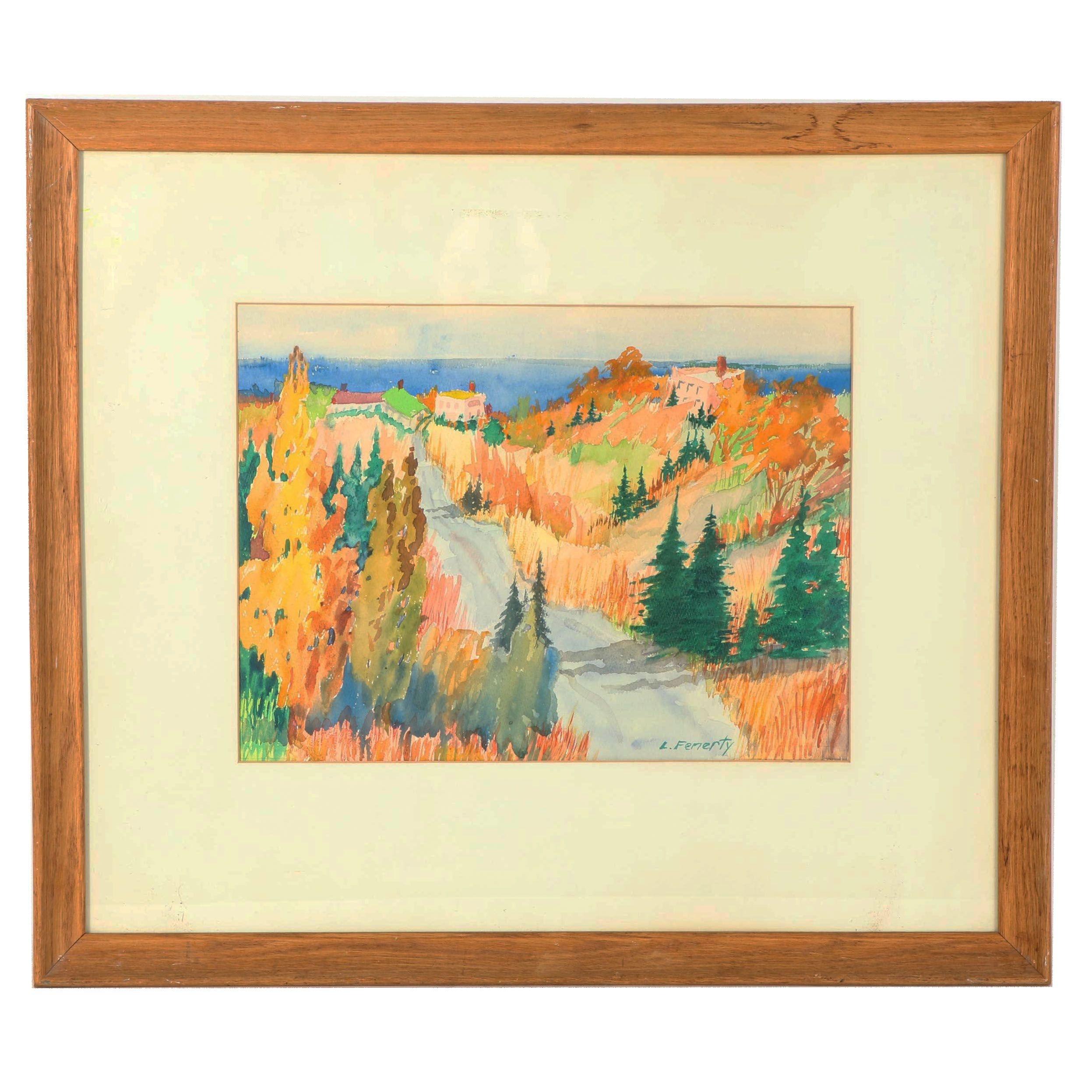 "Lawson Fenerty Watercolor Painting ""Autumn Dunes"""