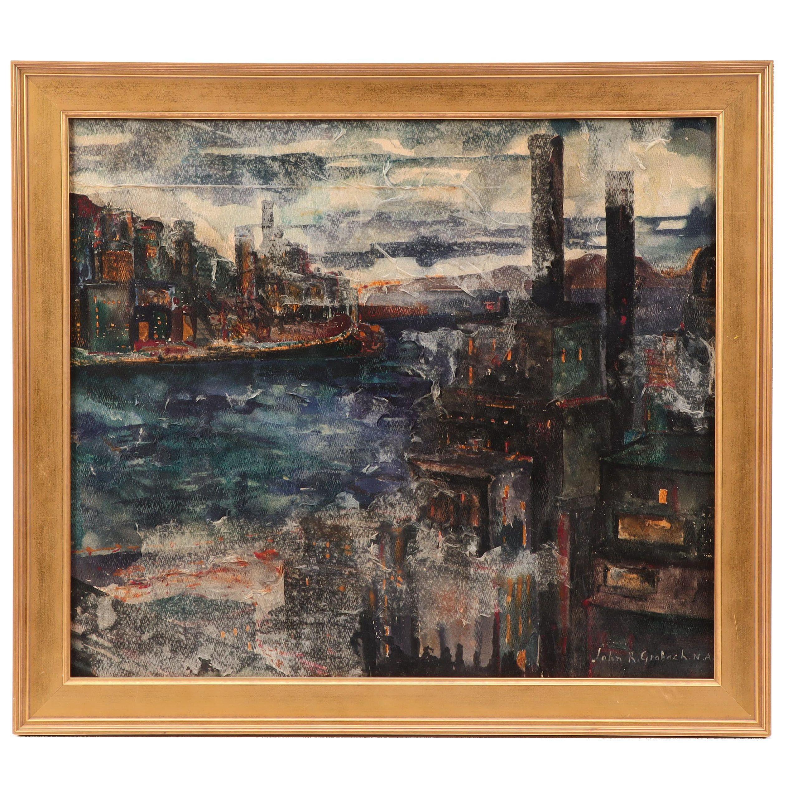 John R. Grabach Mixed Media Painting of New York Cityscape