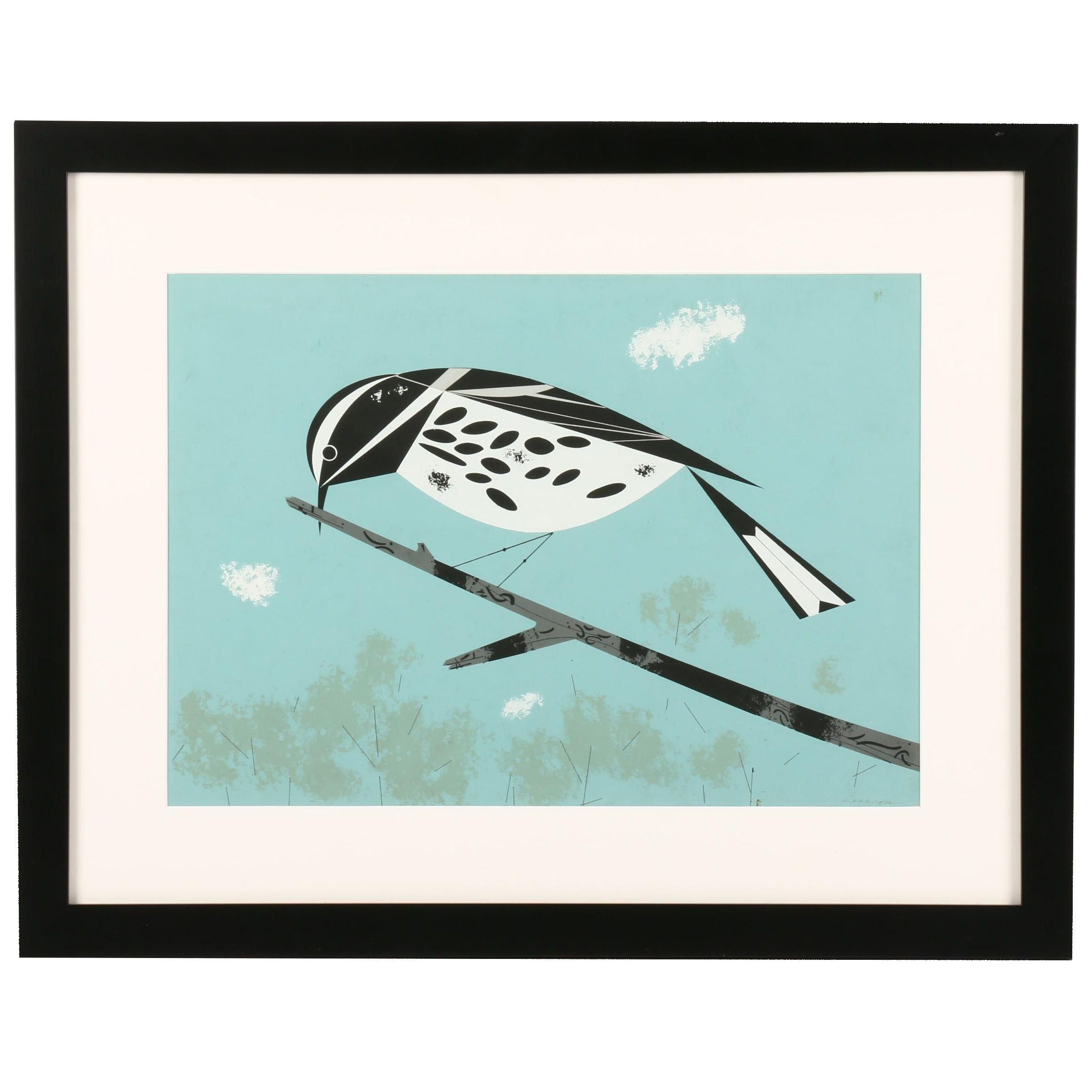"Charley Harper Ford Times Serigraph ""Black and White Warbler"""