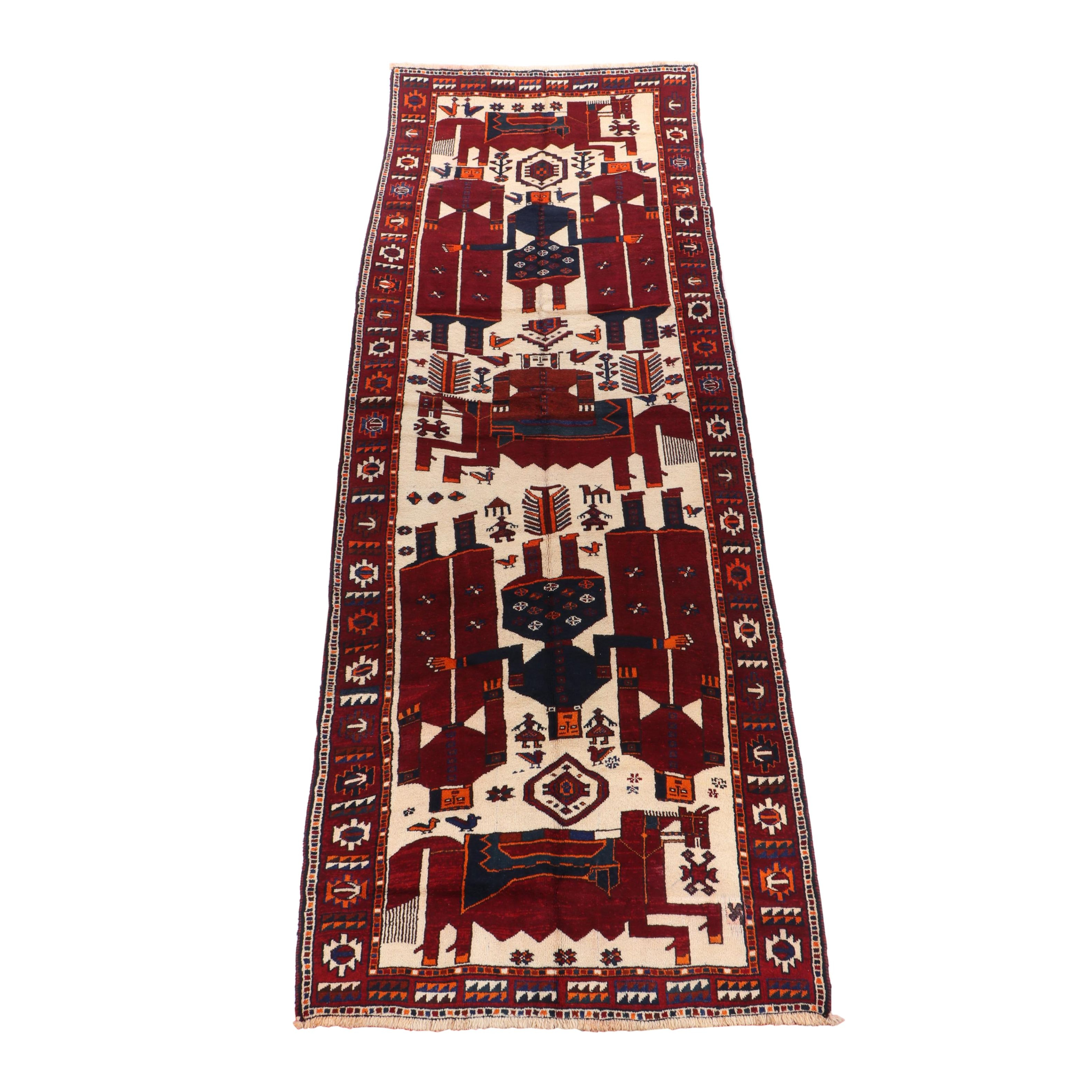 Hand-Knotted Persian Qashqai Gabbeh Pictorial Wool Rug