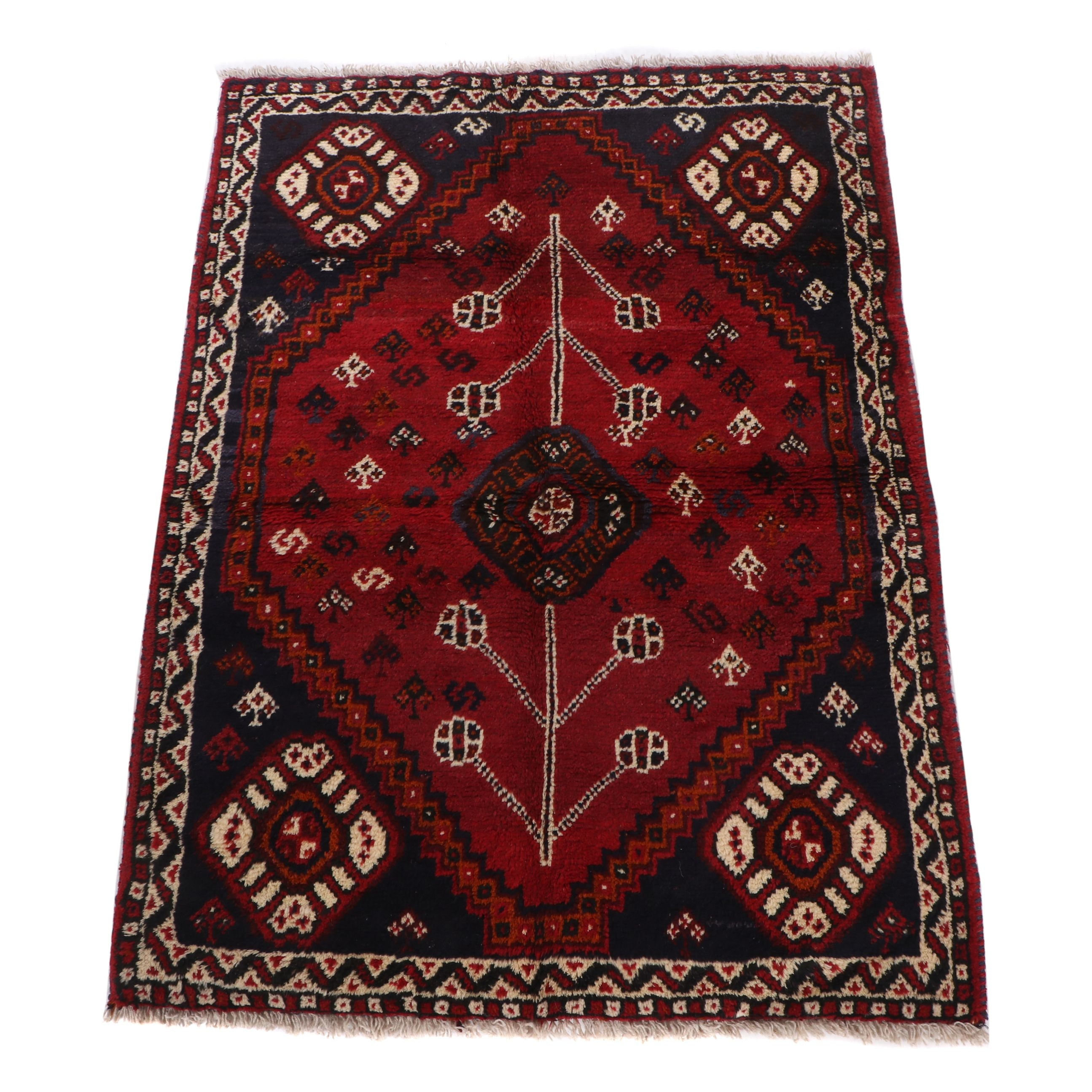 Hand-Knotted Shiraz Wool Rug