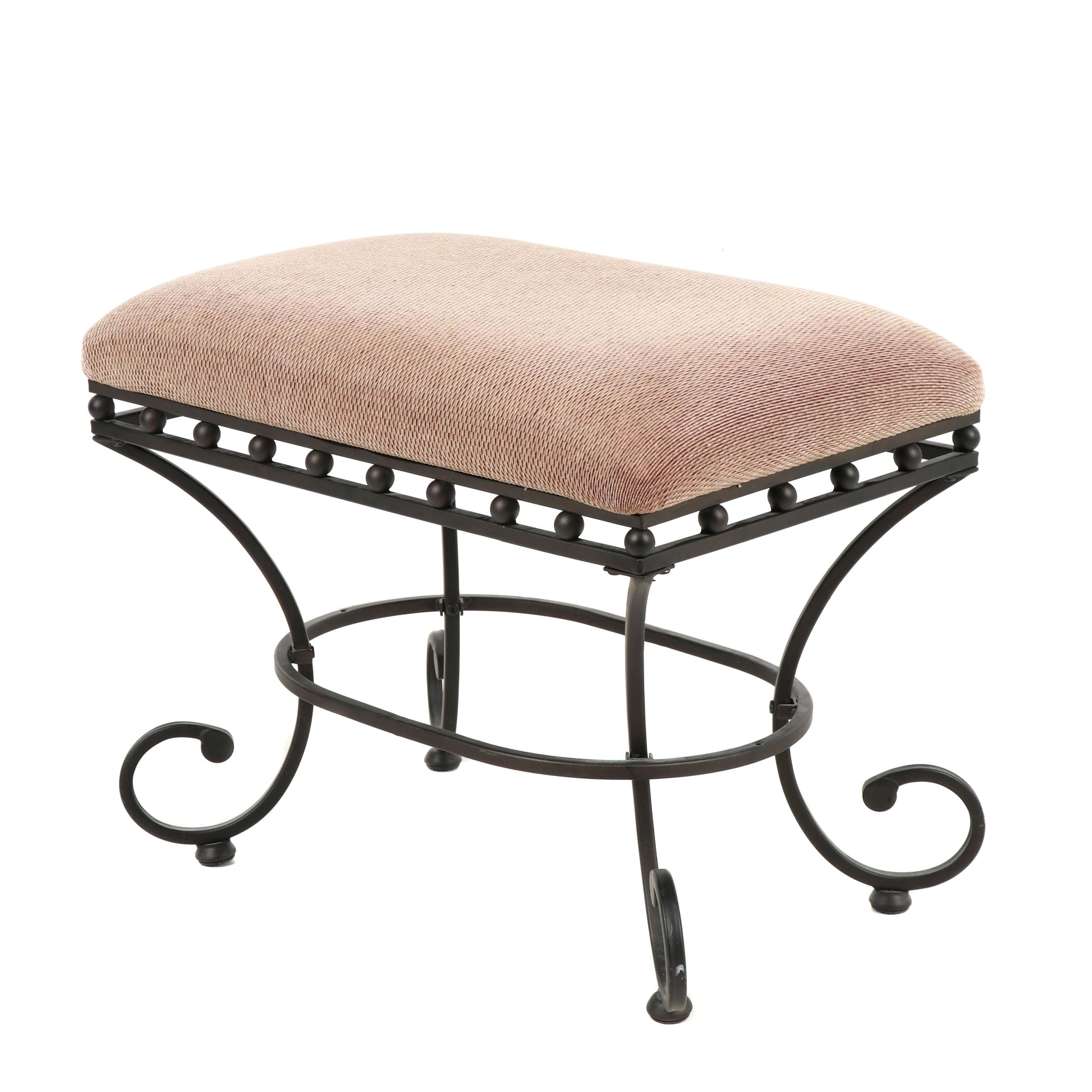 Contemporary Upholstered Bench with Scrolled Metal Legs