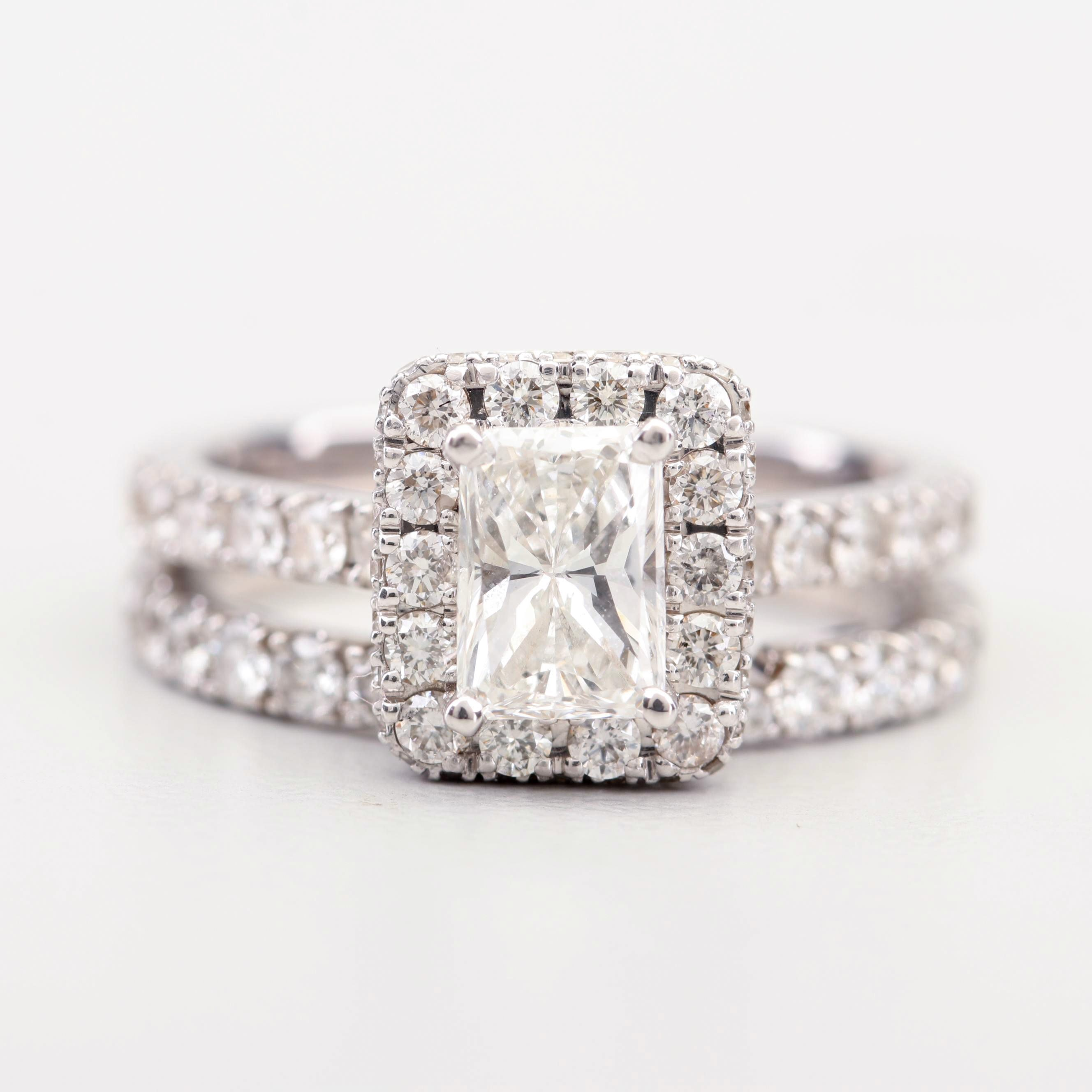 Neil Lane 14K White Gold Diamond Engagement Ring and Band
