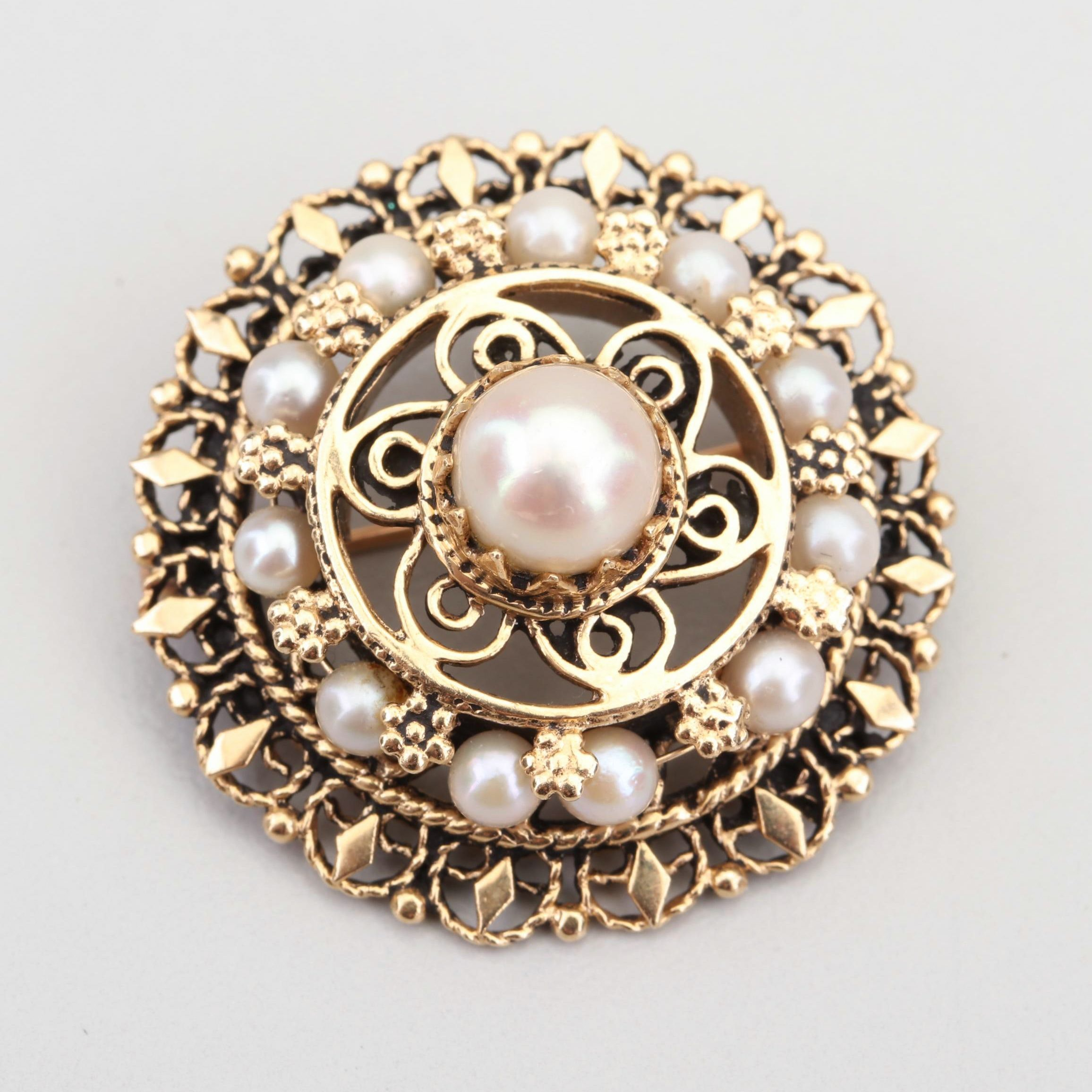 14K Yellow Gold Cultured Freshwater Pearl Brooch