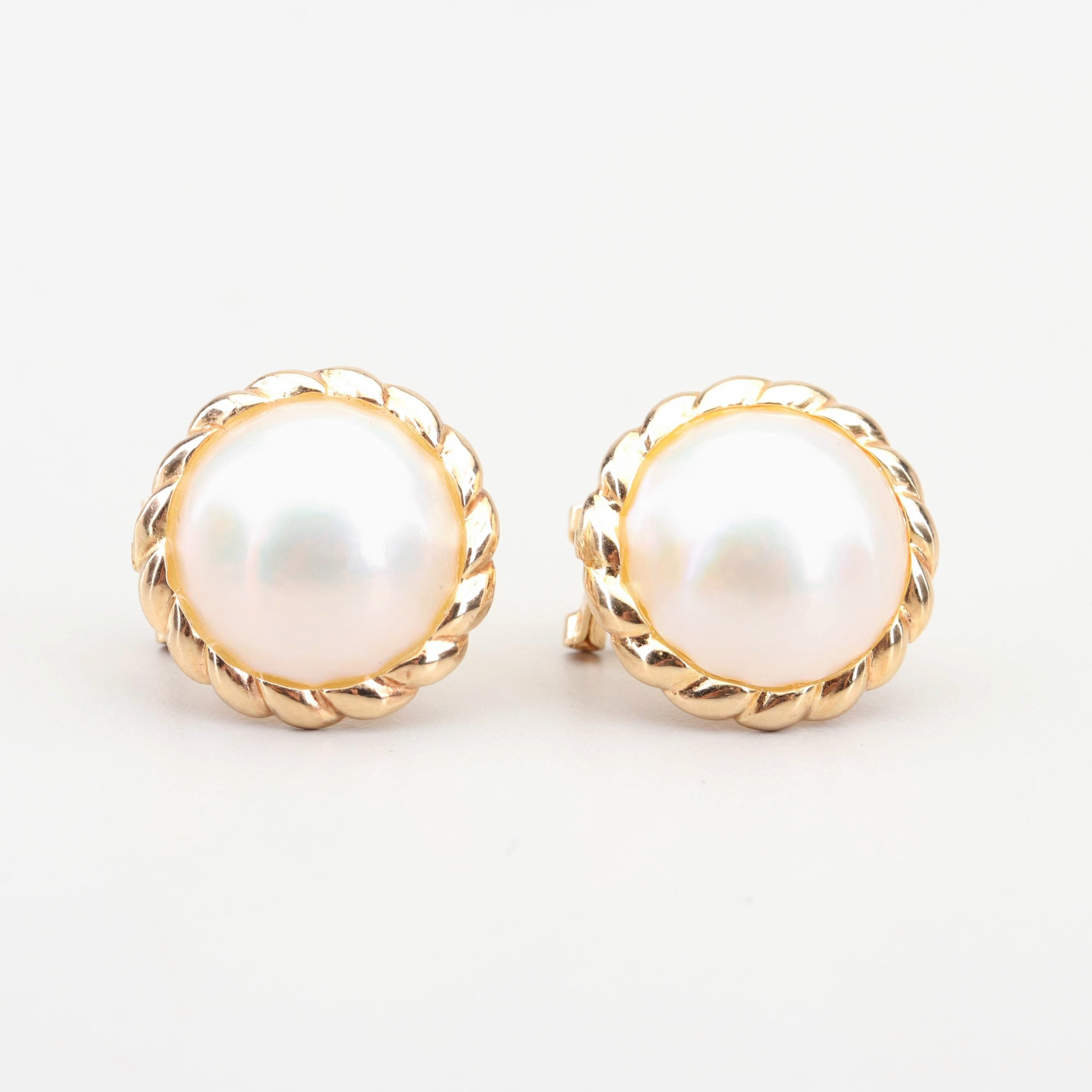 14K Yellow Gold Mabe' Pearl Earrings