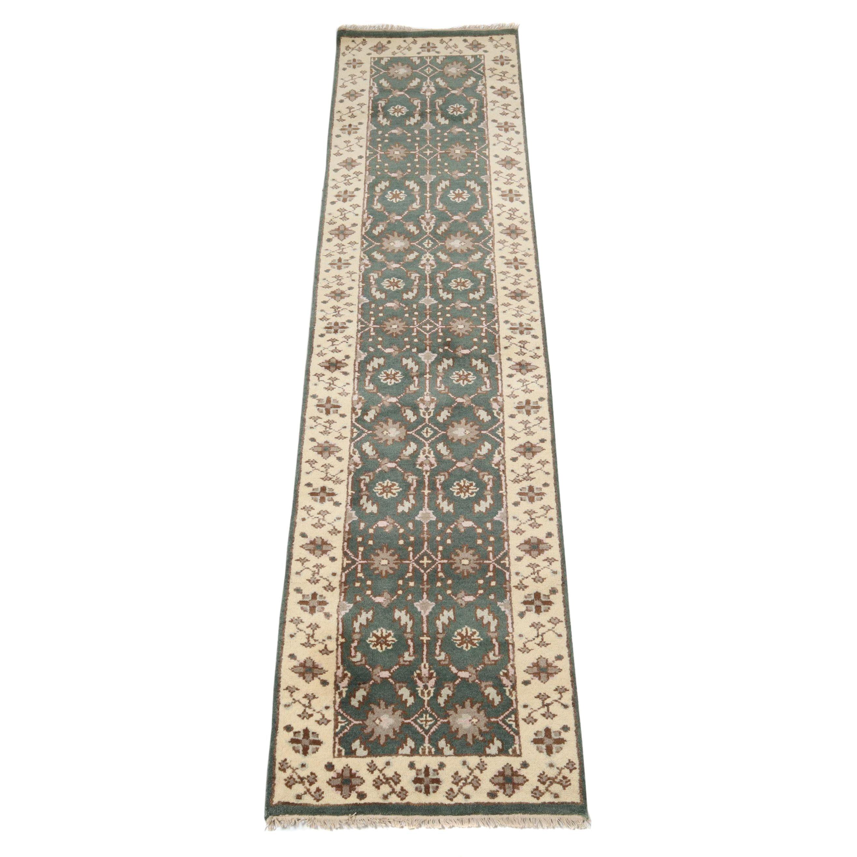 Hand-Knotted indo-Turkish Oushak Chobi Wool Carpet Runner