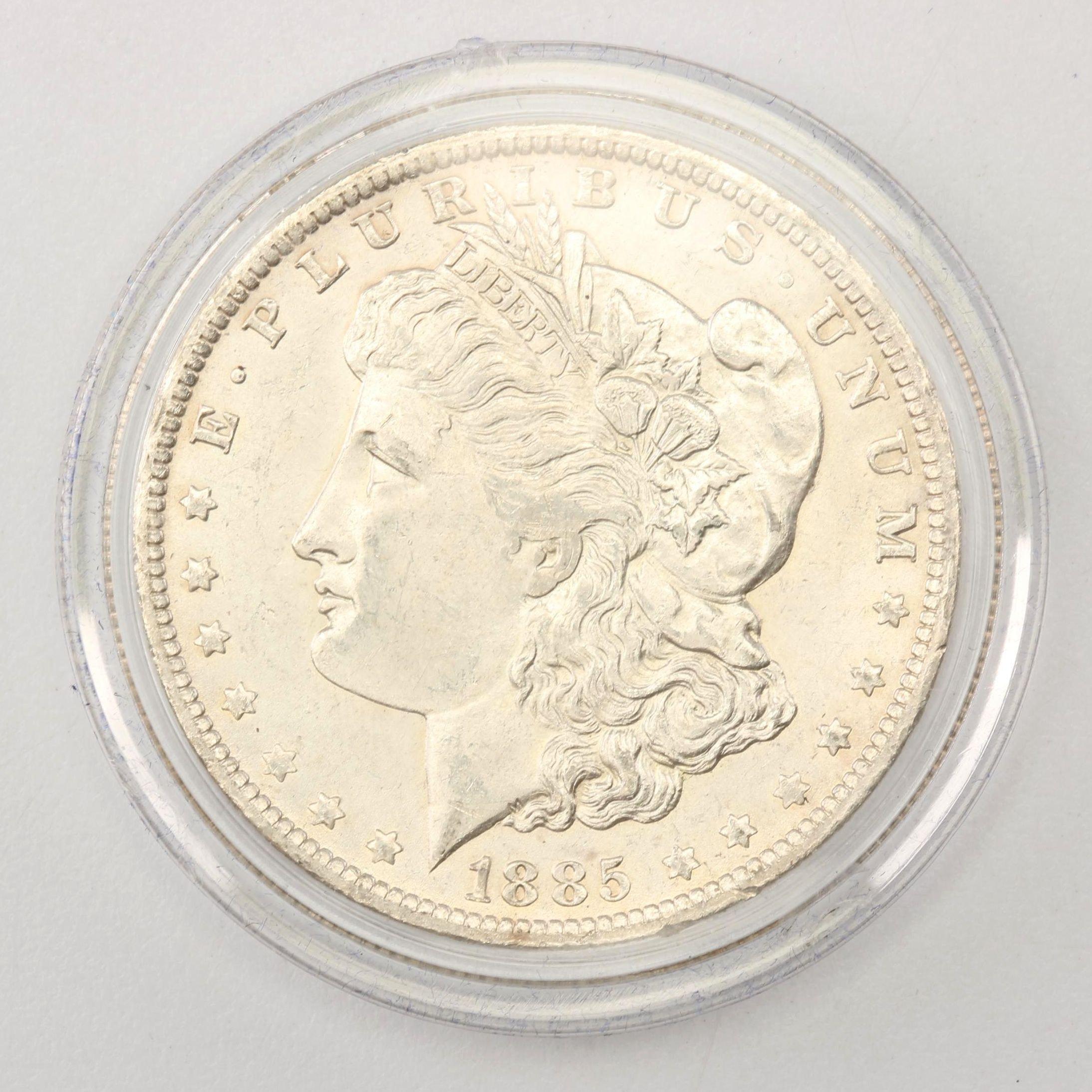 1885-O Morgan Silver Dollar in Display Case